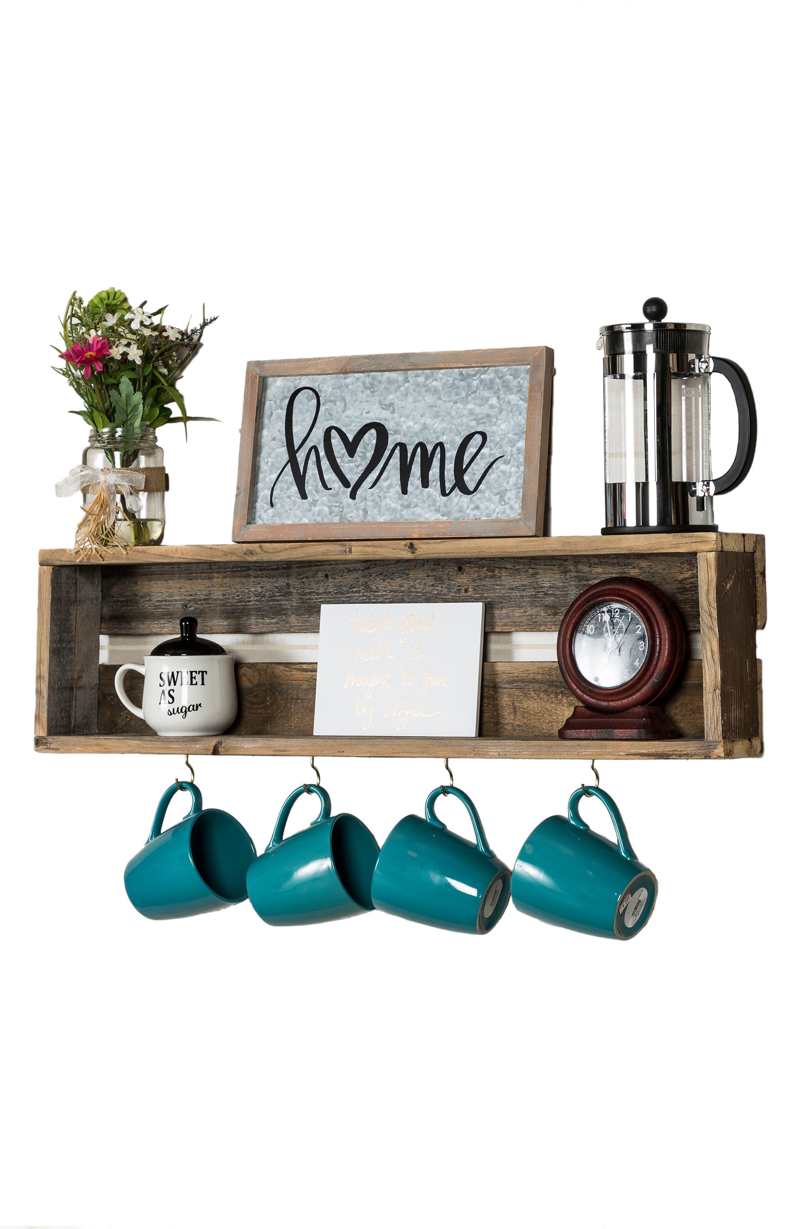 Repurposed Wood Shelf with Hooks,                             Alternate thumbnail 4, color,                             200
