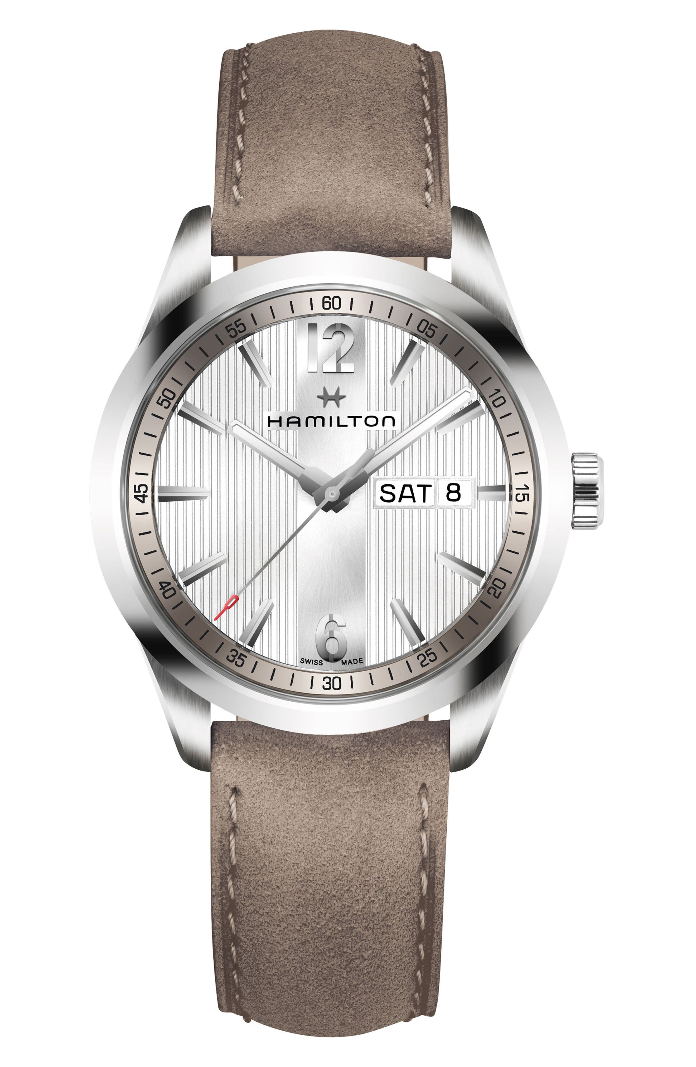 Broadway Leather Strap Watch, 40mm,                             Main thumbnail 1, color,                             GREY/ SILVER