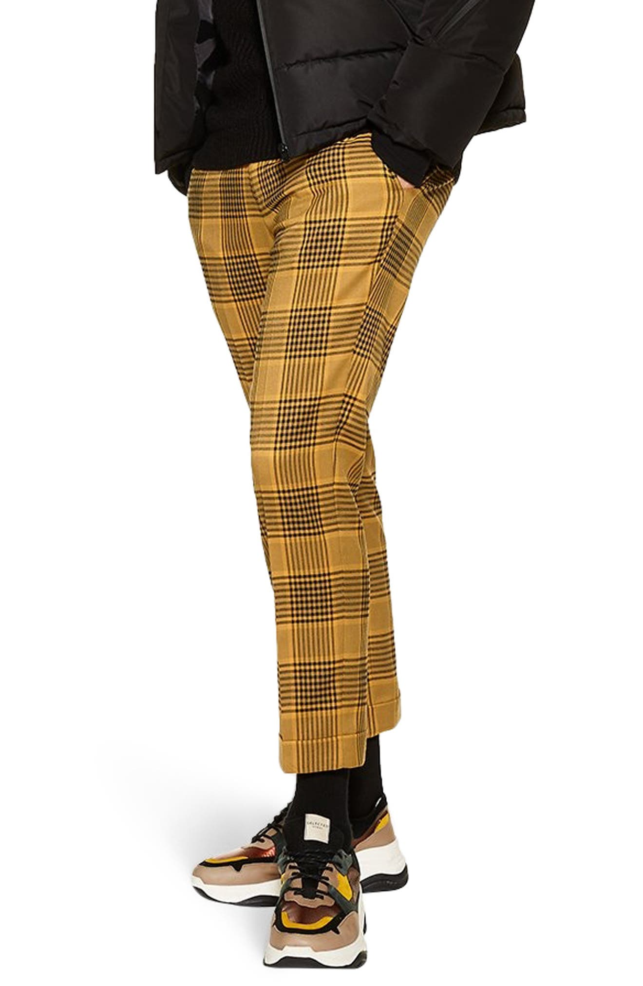 Plaid Relaxed Crop Trousers, Main, color, YELLOW MULTI
