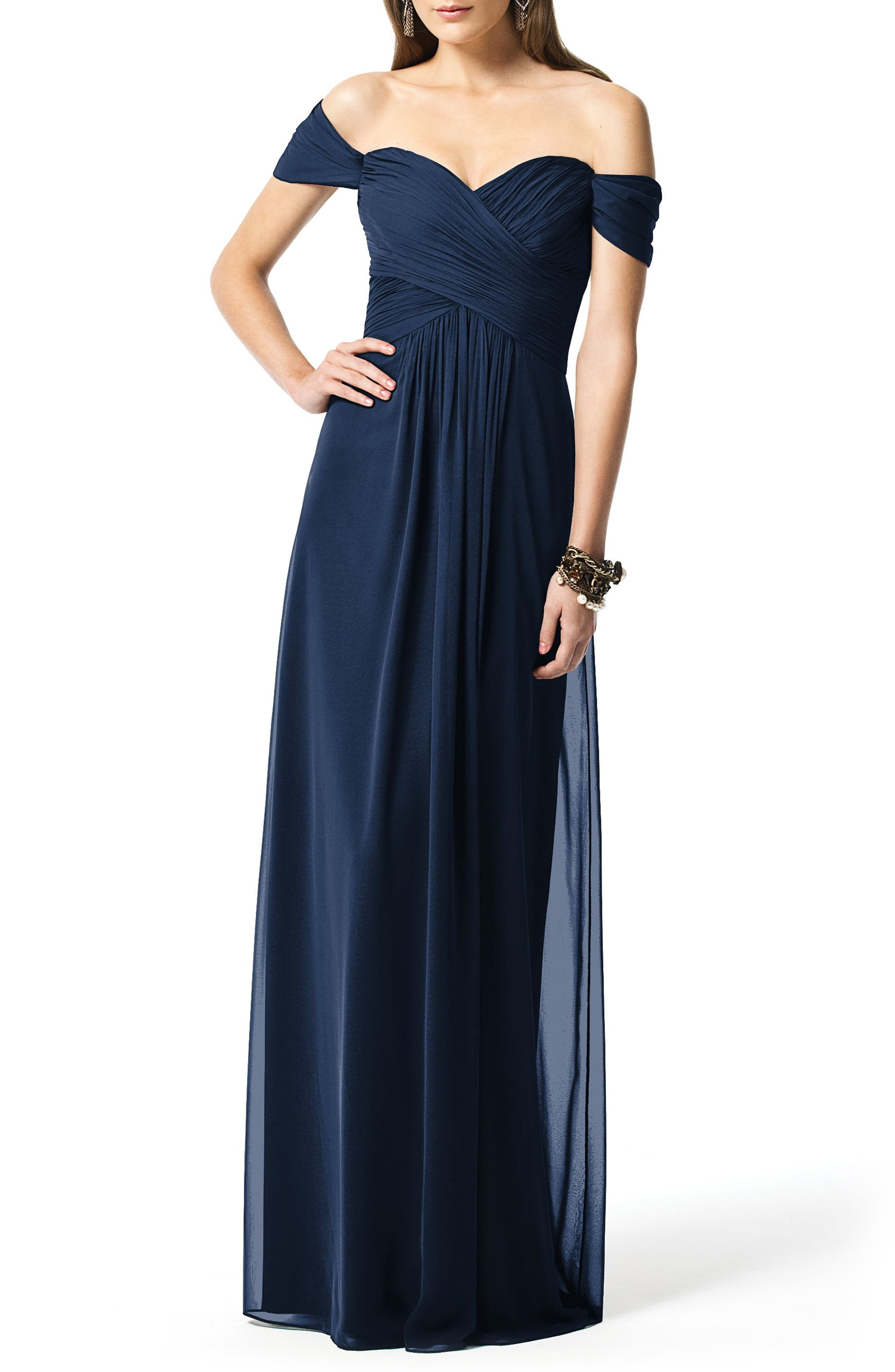 Dessy Collection Ruched Chiffon Gown, Blue