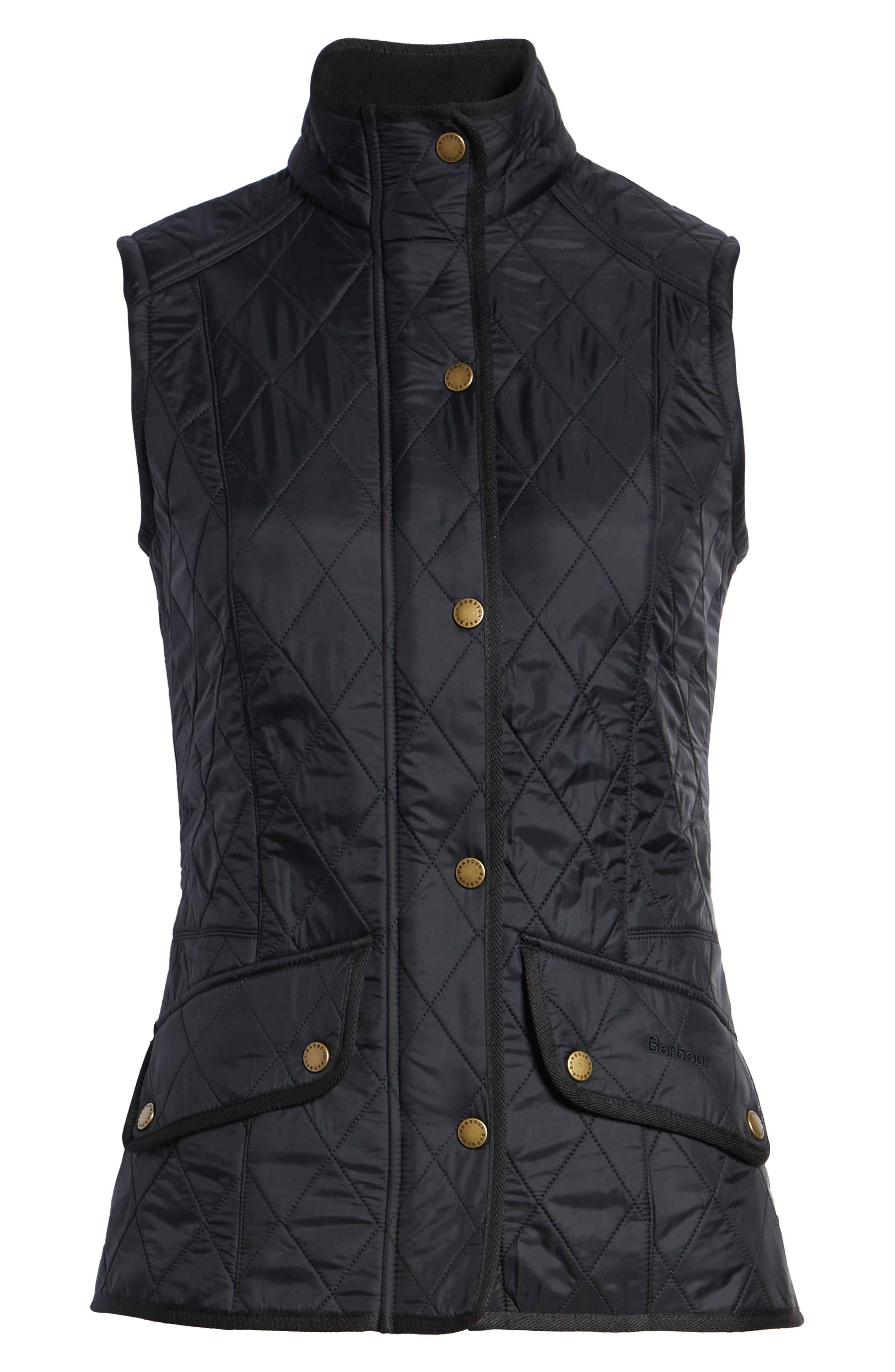 'Cavalry' Quilted Vest,                             Alternate thumbnail 7, color,                             BLACK/ BLACK