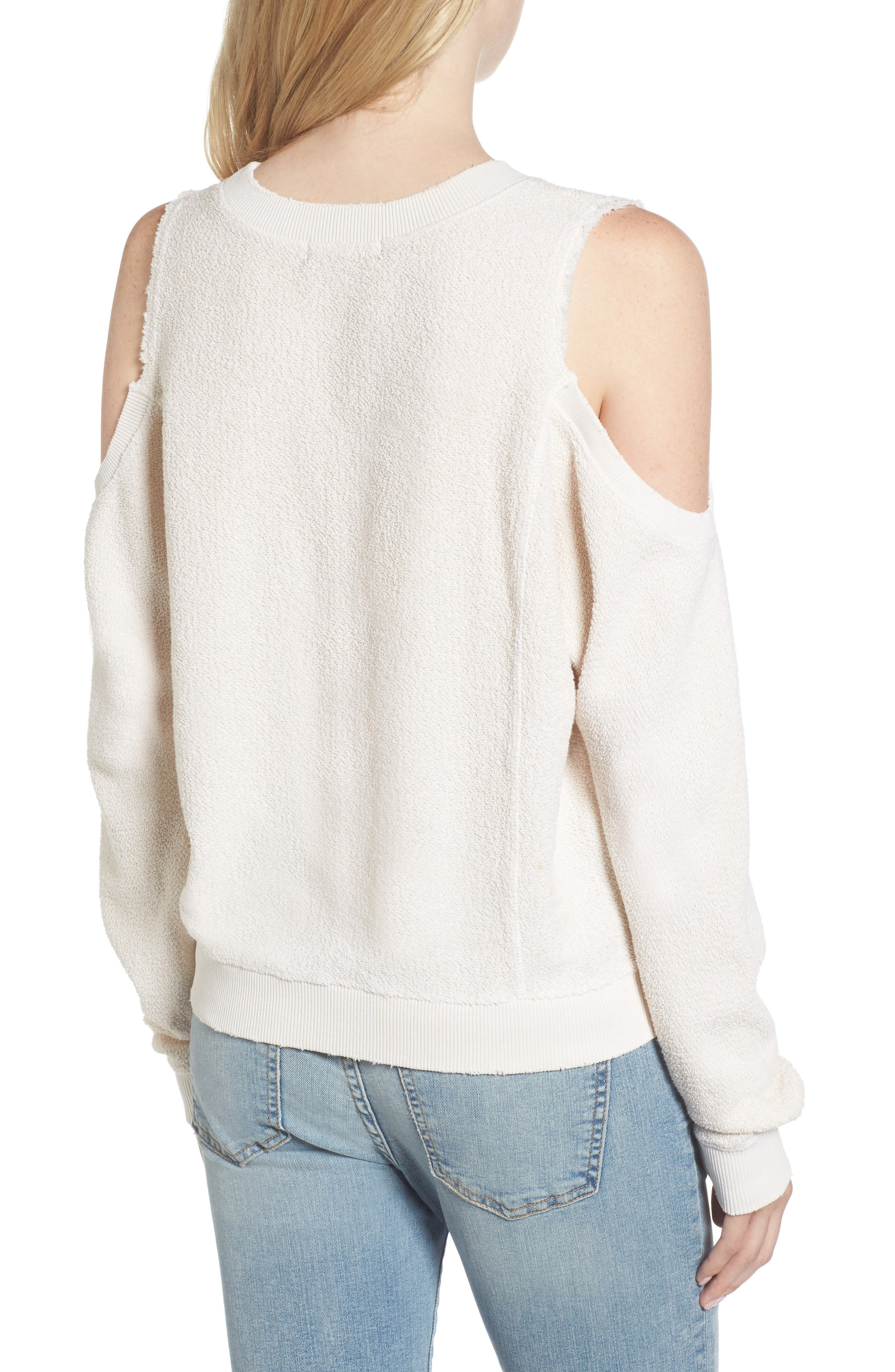 Maia Cold Shoulder Reversed Sweatshirt,                             Alternate thumbnail 2, color,                             100