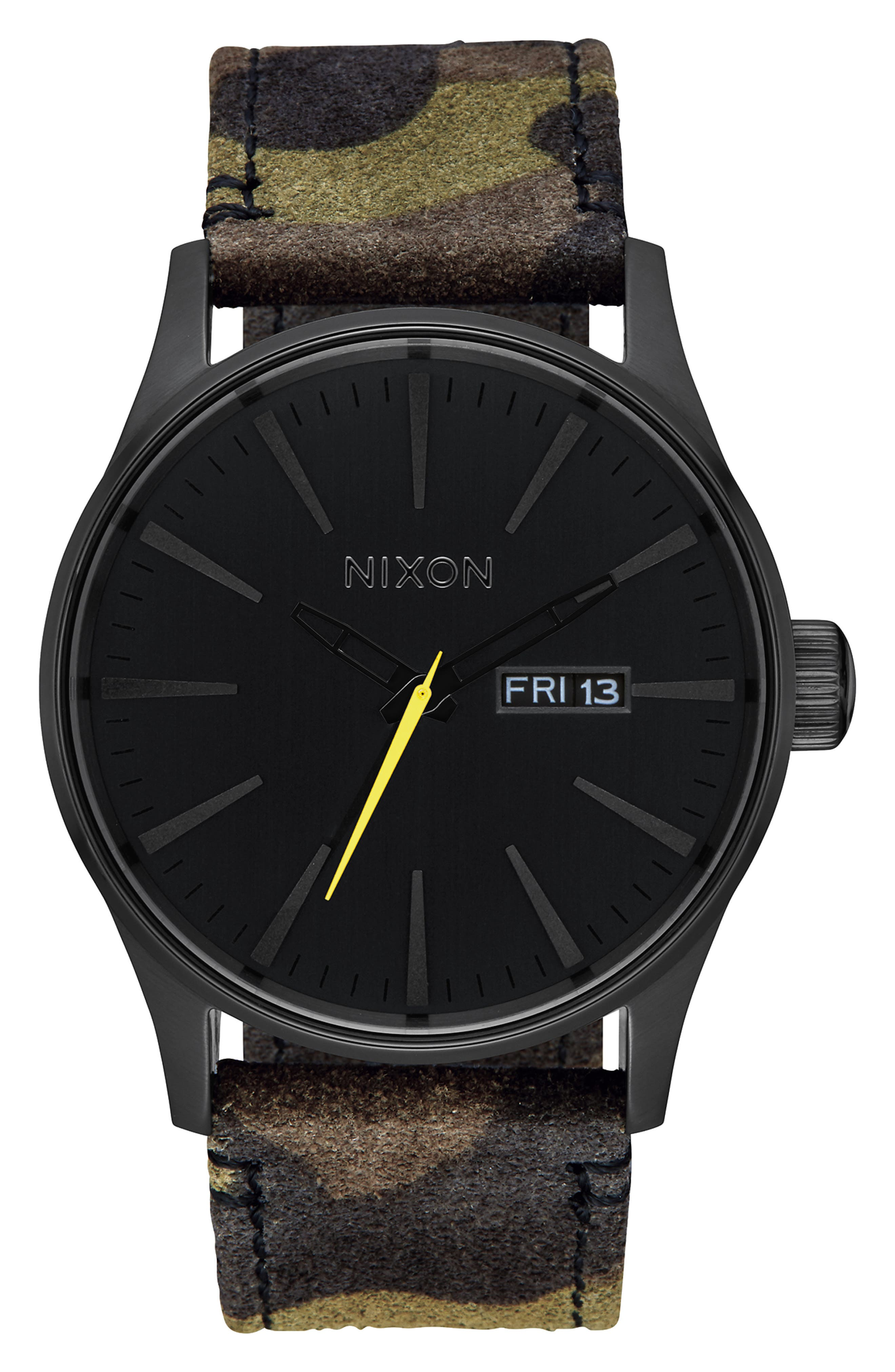 The Sentry Leather Strap Watch, 42mm,                         Main,                         color, CAMO/ BLACK