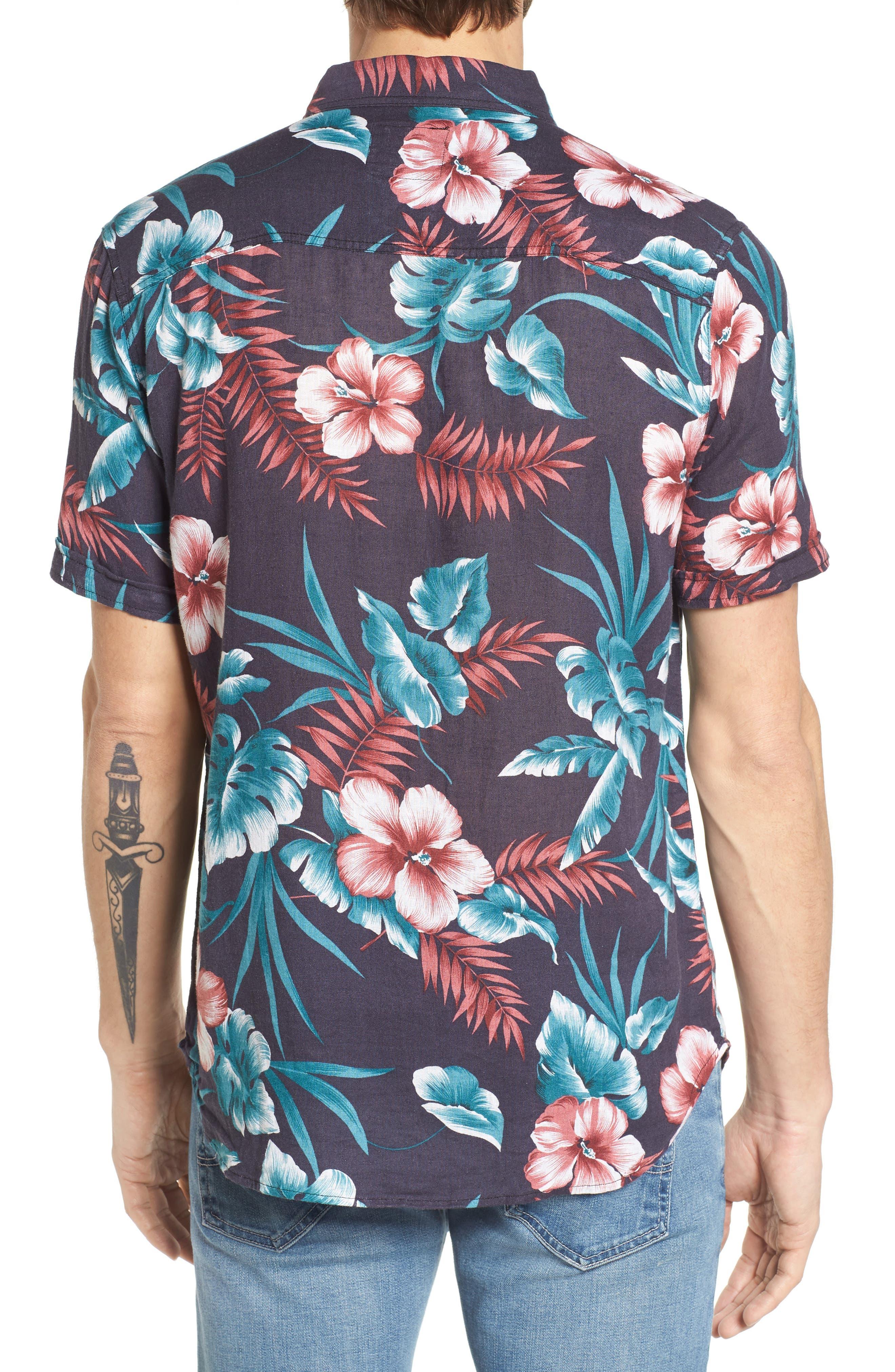 Carson Slim Fit Tropical Print Sport Shirt,                             Alternate thumbnail 2, color,                             001