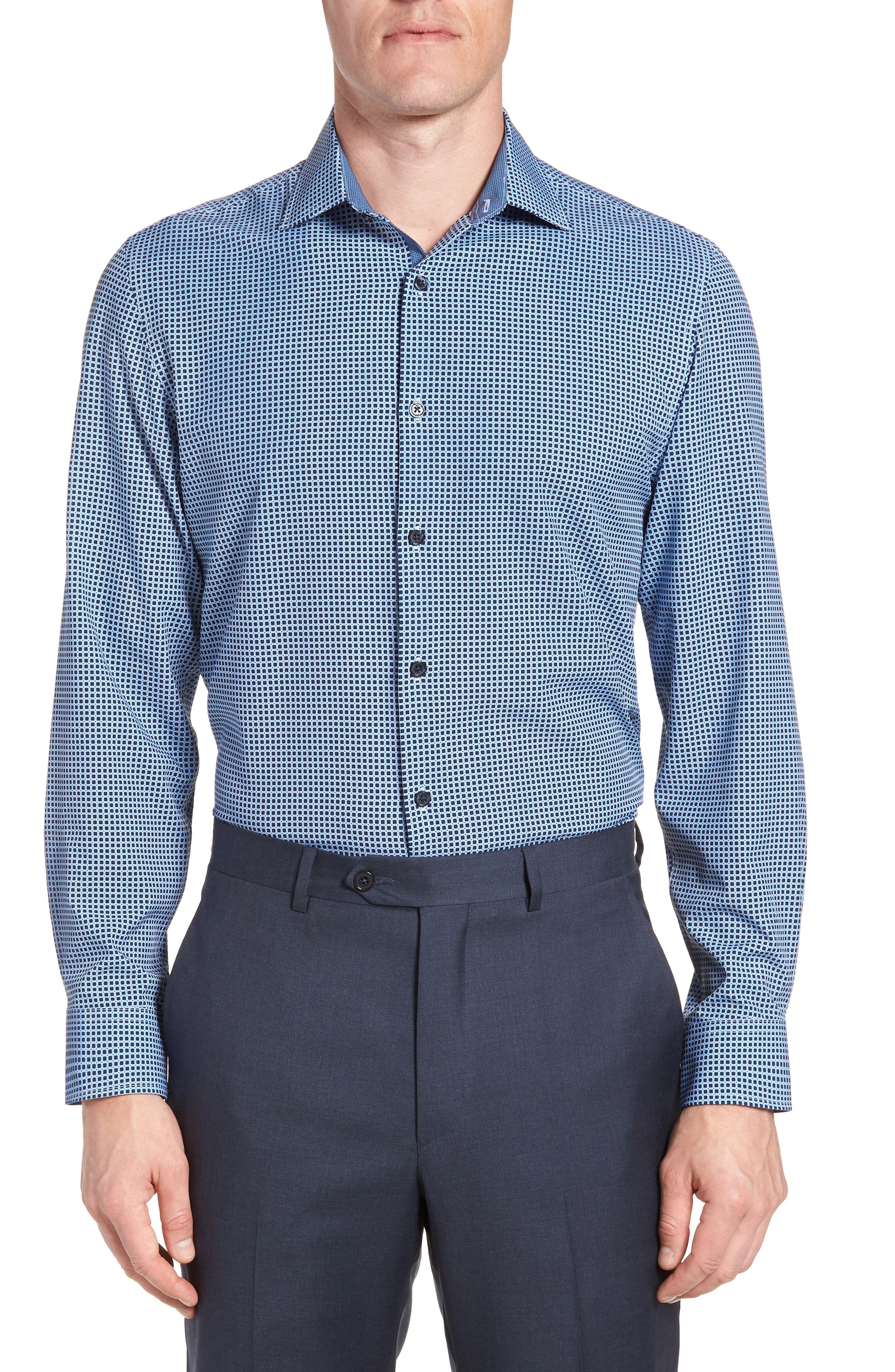 W.R.K,                             Trim Fit Check 4-Way Stretch Dress Shirt,                             Main thumbnail 1, color,                             410