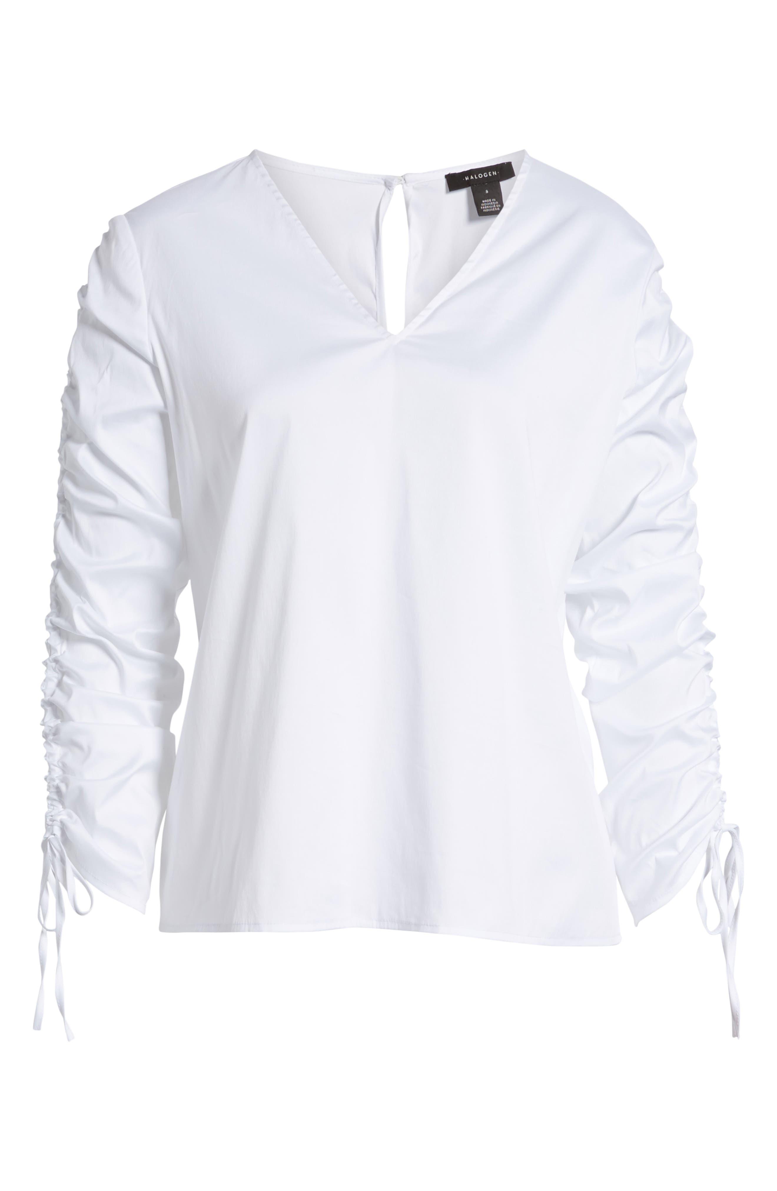 Cinch Sleeve V-Neck Top,                             Alternate thumbnail 11, color,