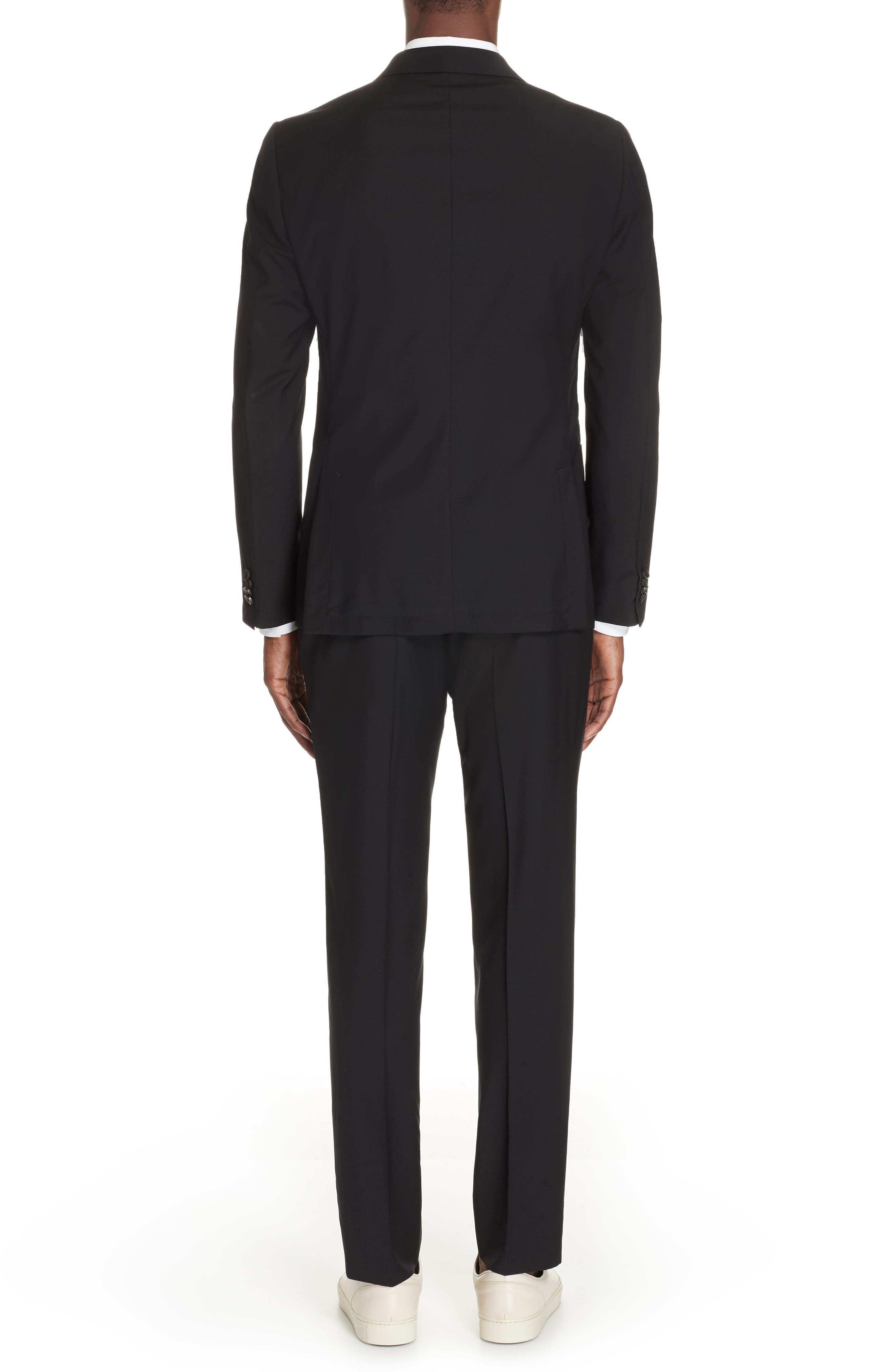 Wash and Go Trim Fit Solid Wool Suit,                             Alternate thumbnail 2, color,                             BLACK
