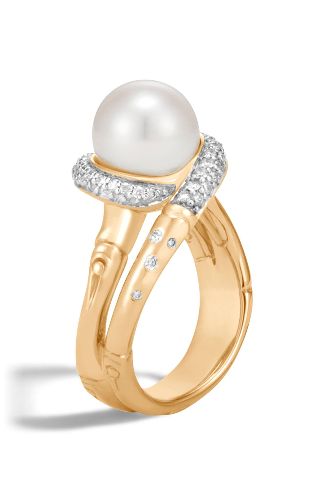 Bamboo 4.5Mm-14Mm Mother Of Pearl, Sterling Silver & 14K Yellow Gold Ring in Gold/ Diamond