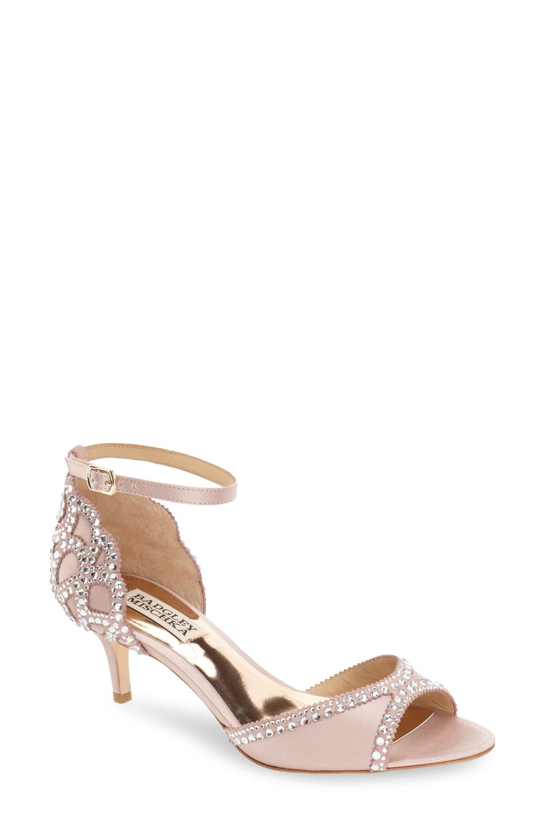 'Gillian' Crystal Embellished d'Orsay Sandal,                             Main thumbnail 1, color,                             BLUSH SATIN