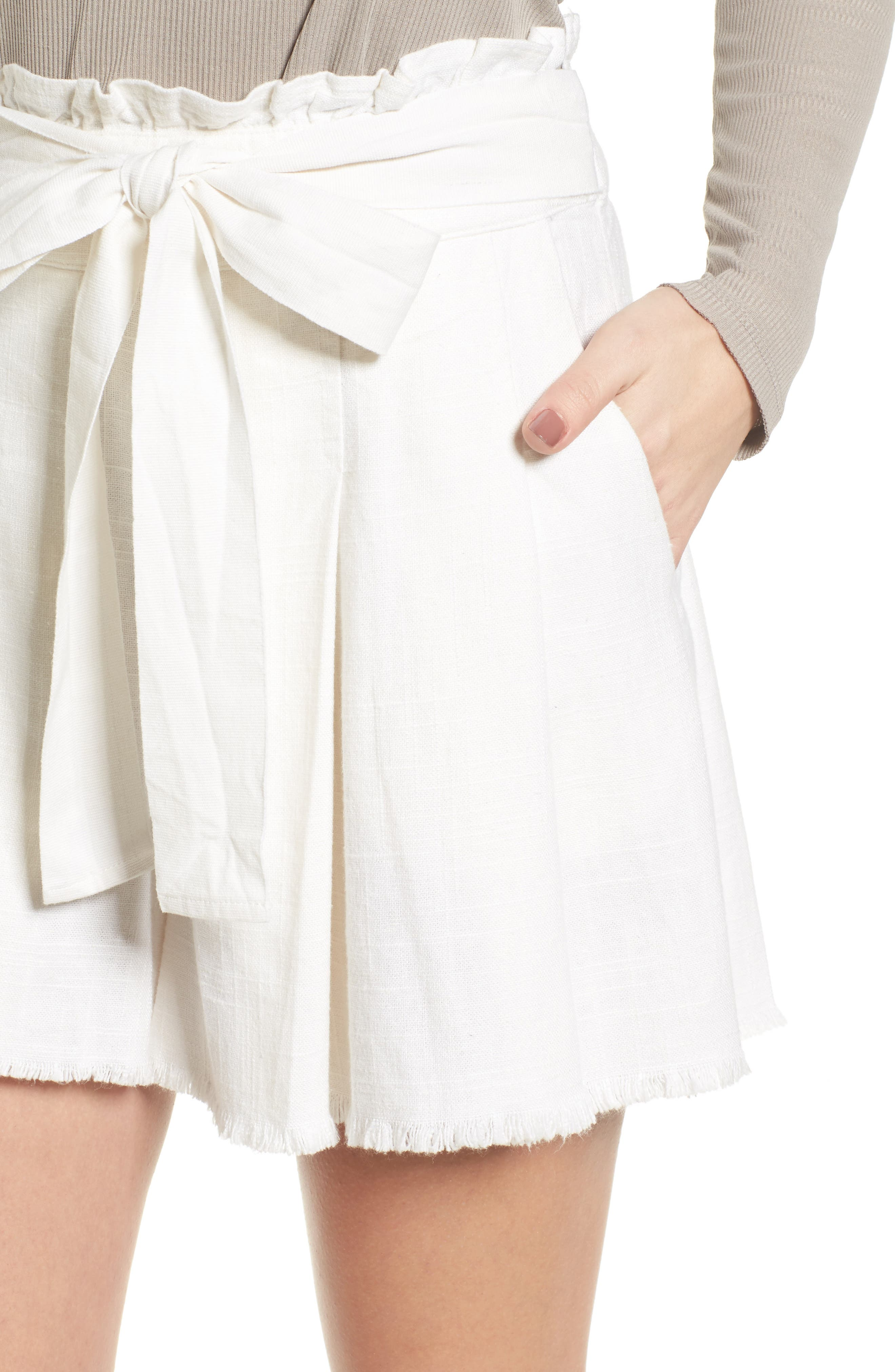 Raw Hem Paper Bag Waist Shorts,                             Alternate thumbnail 4, color,                             100