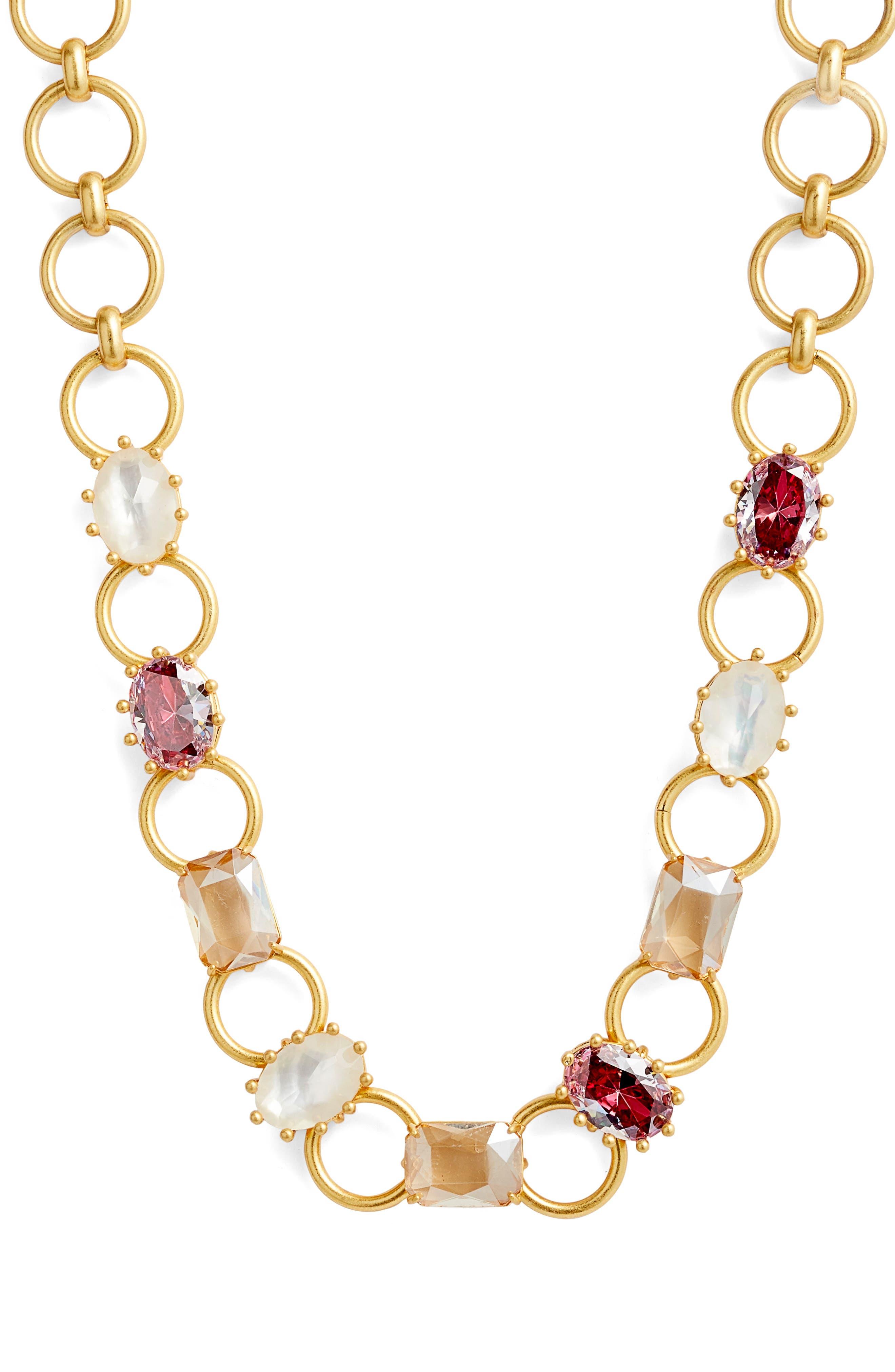 stone necklace,                         Main,                         color, RUSSET MULTI