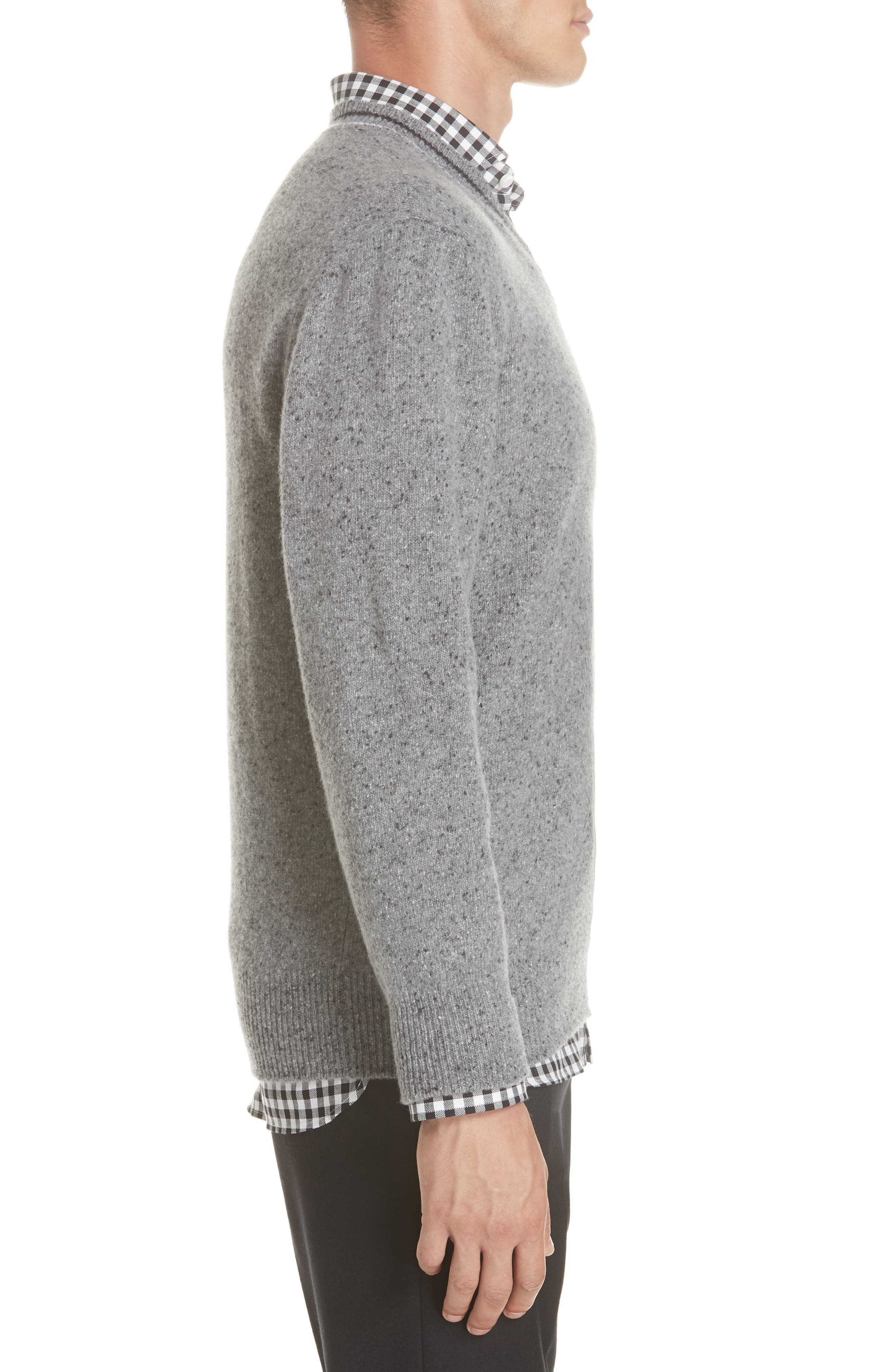 Trim Fit V-Neck Wool & Cashmere Sweater,                             Alternate thumbnail 3, color,                             GREY