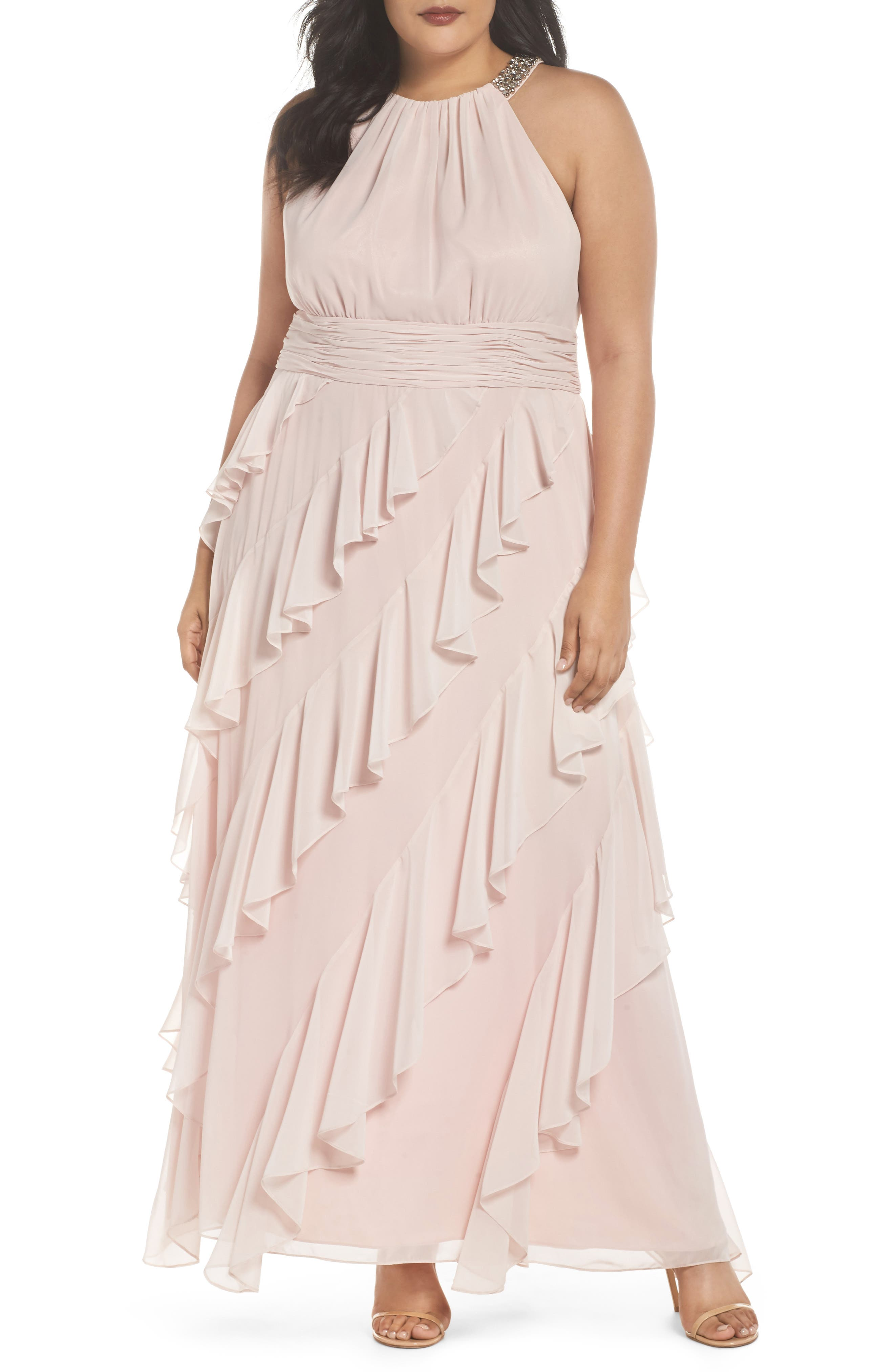 Embellished Ruffle Chiffon Gown,                             Main thumbnail 1, color,                             684