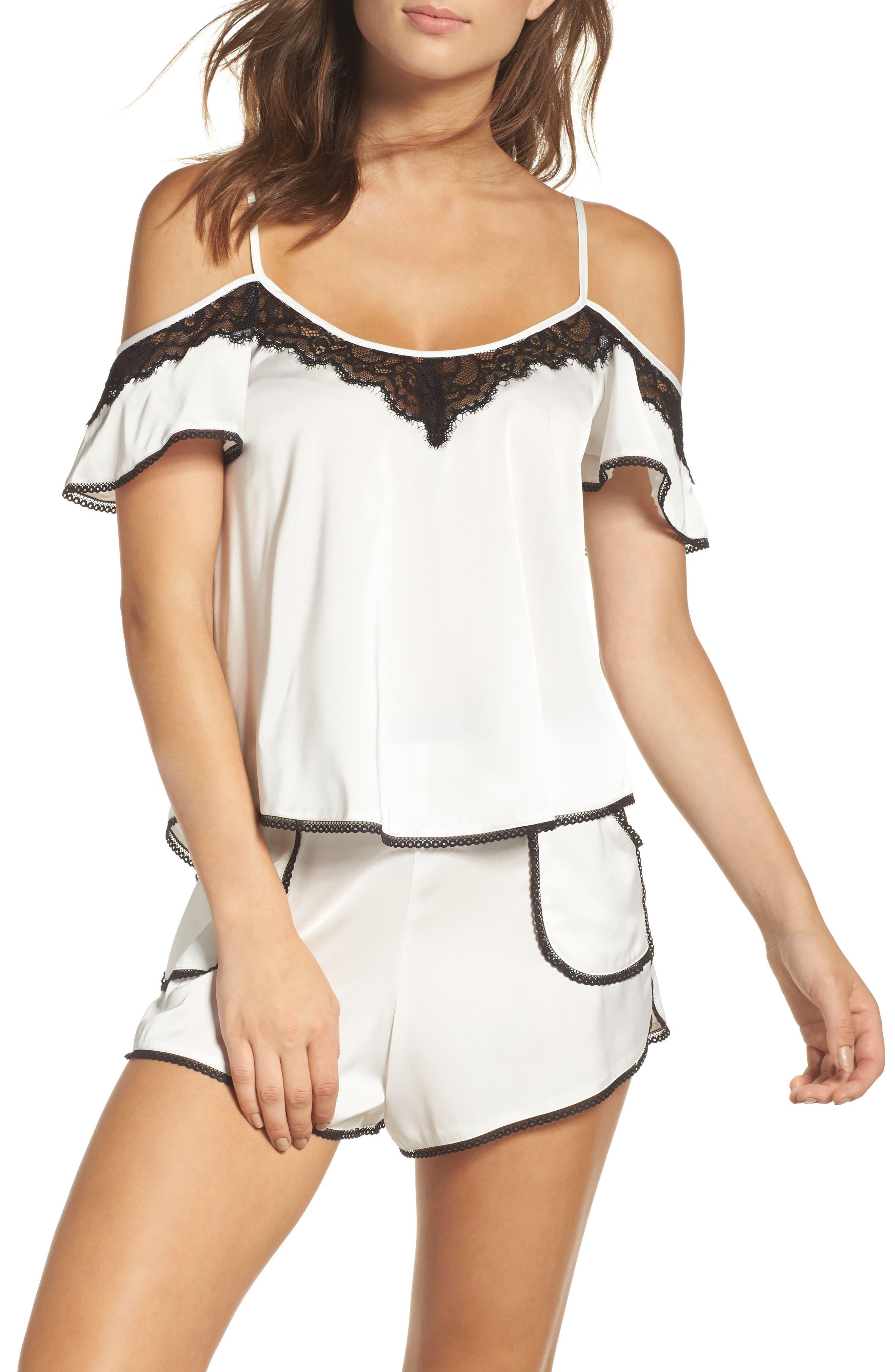 Thistle & Spire Devoe Satin Pajama Shorts,                             Alternate thumbnail 6, color,                             900