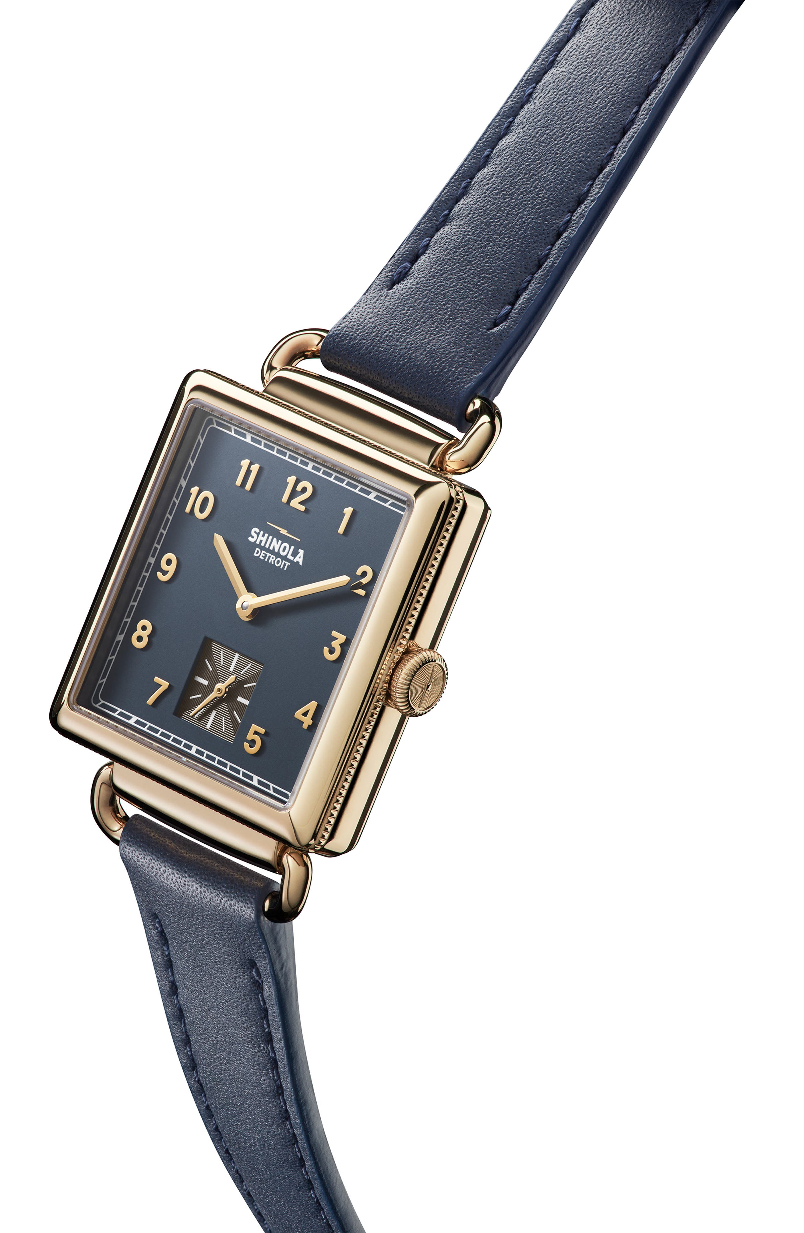 Cass Leather Strap Watch, 28mm,                             Alternate thumbnail 5, color,                             OCEAN/ BLUE/ GOLD