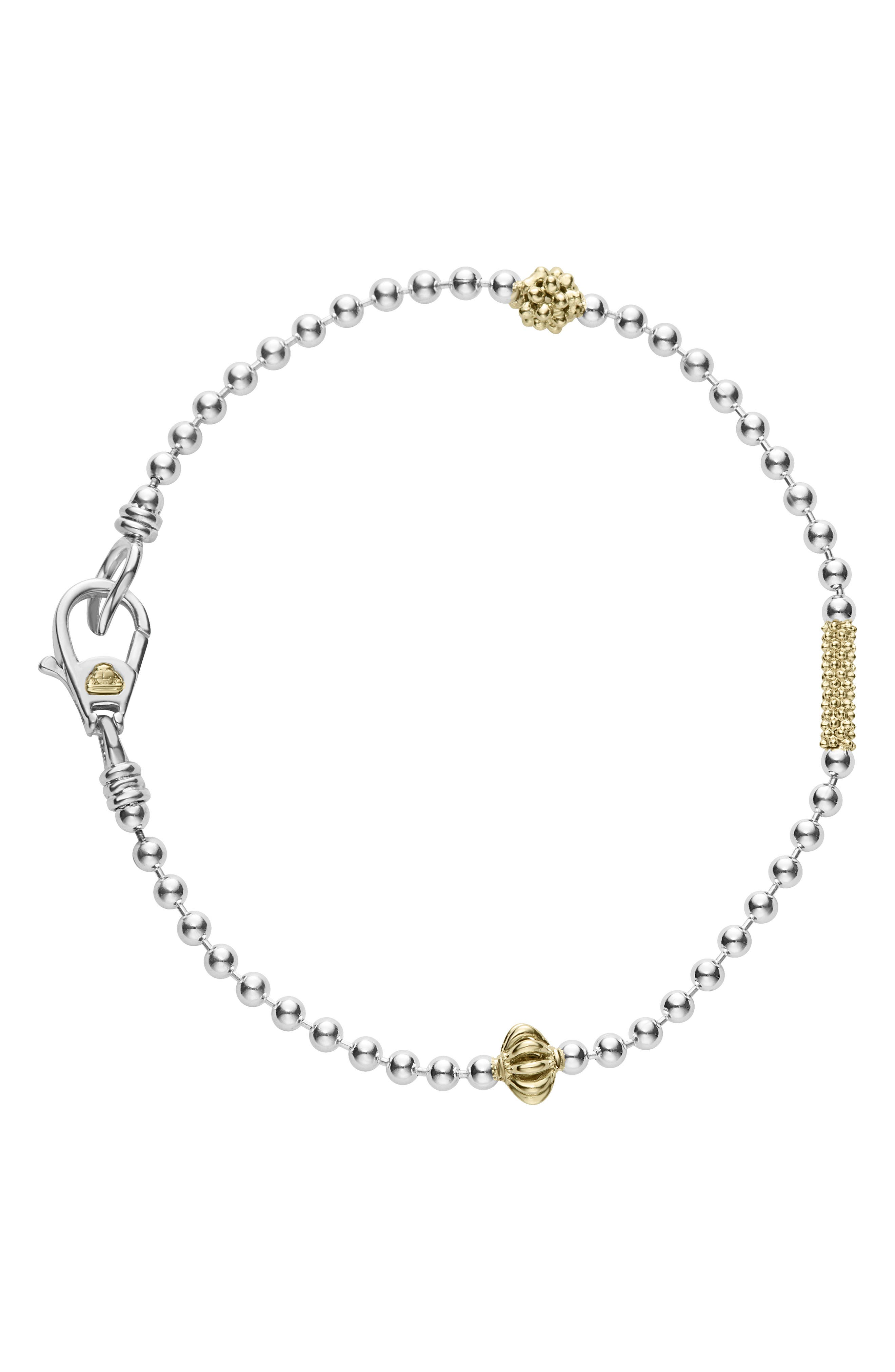 Caviar Icon Single Strand Bracelet,                             Alternate thumbnail 2, color,                             SILVER