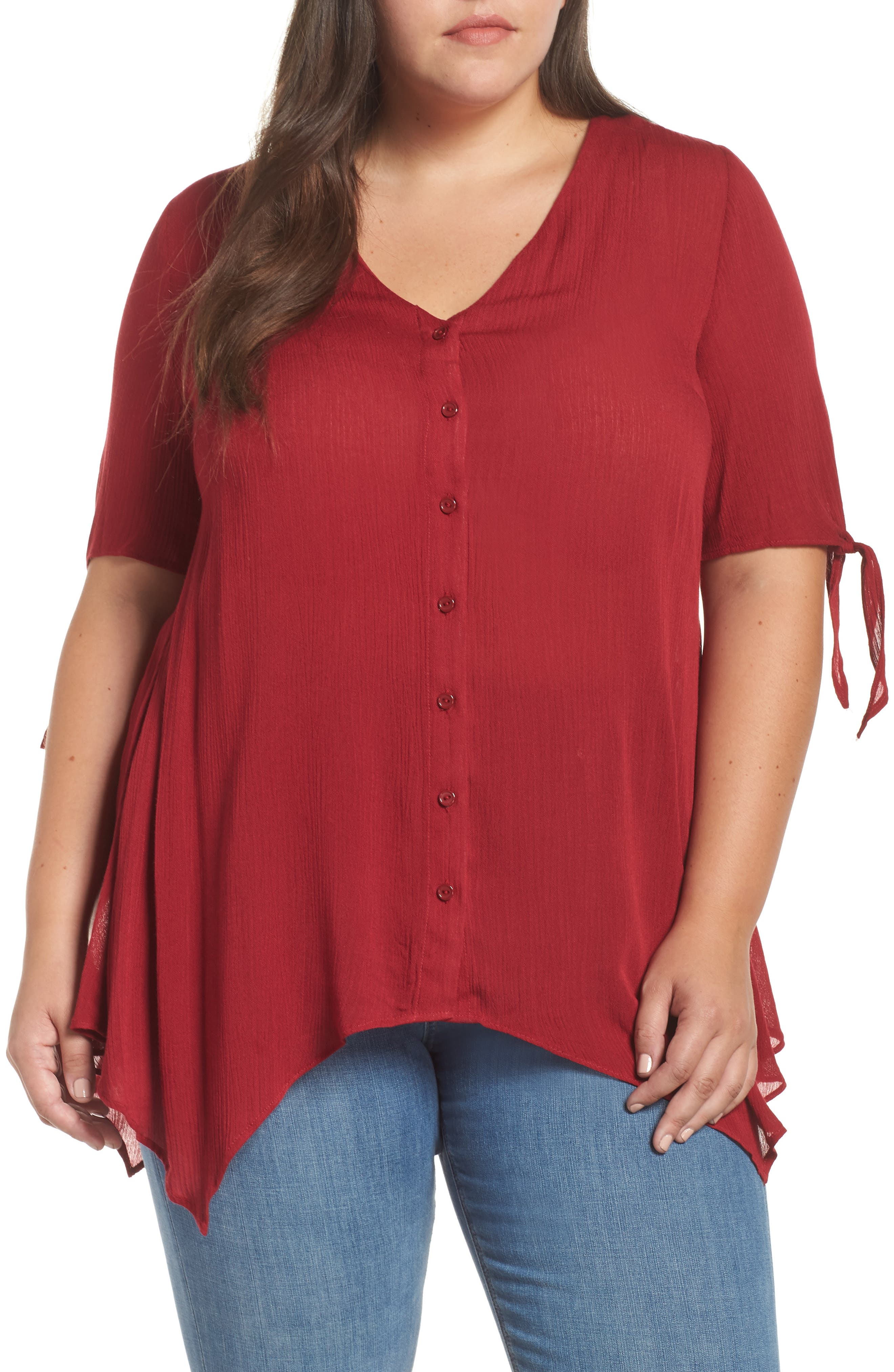 Tie Sleeve Button Front Tunic Top,                         Main,                         color, MAROON