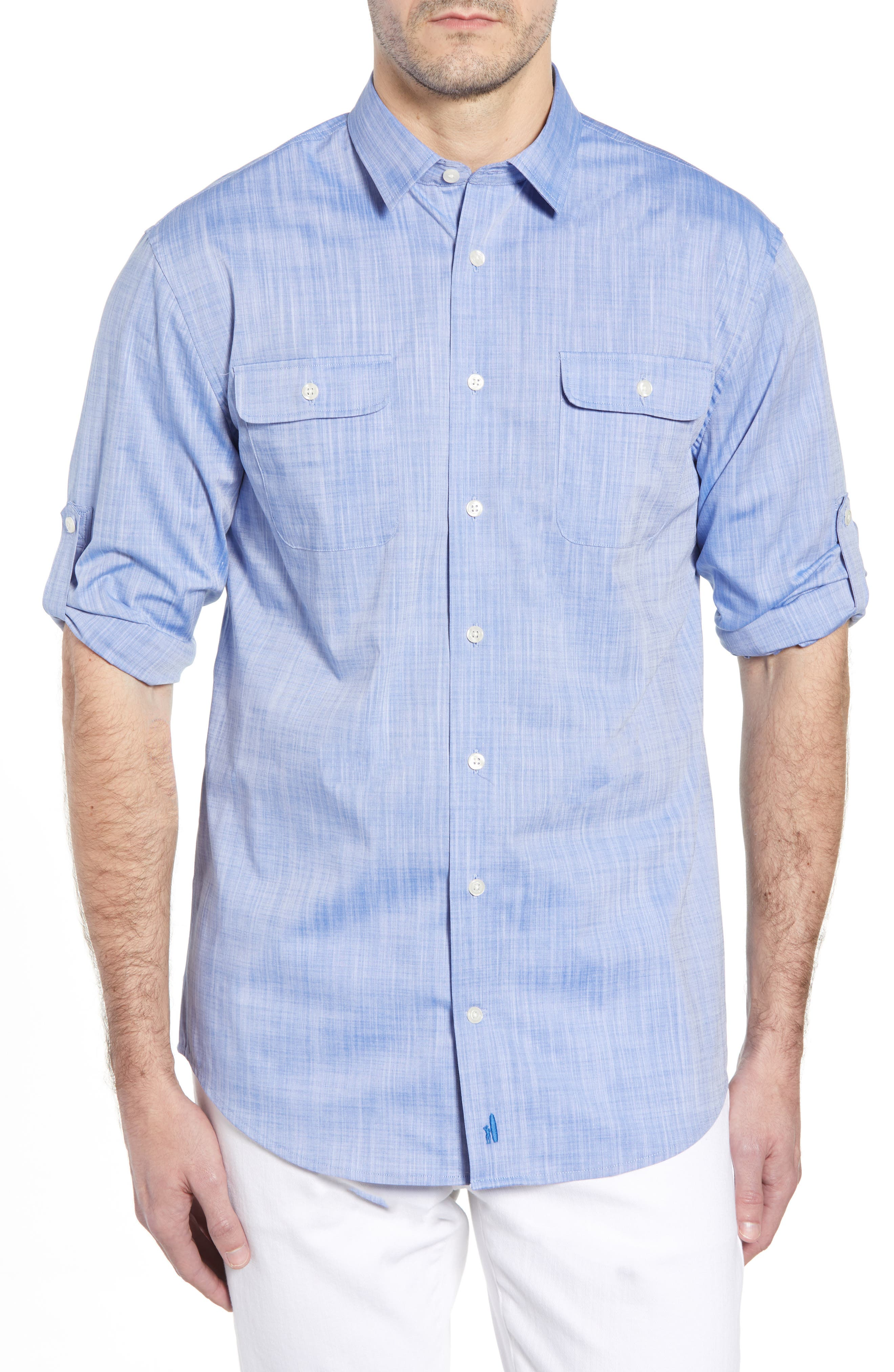 Hutton Classic Fit Shirt,                             Main thumbnail 1, color,                             DEEP WATER