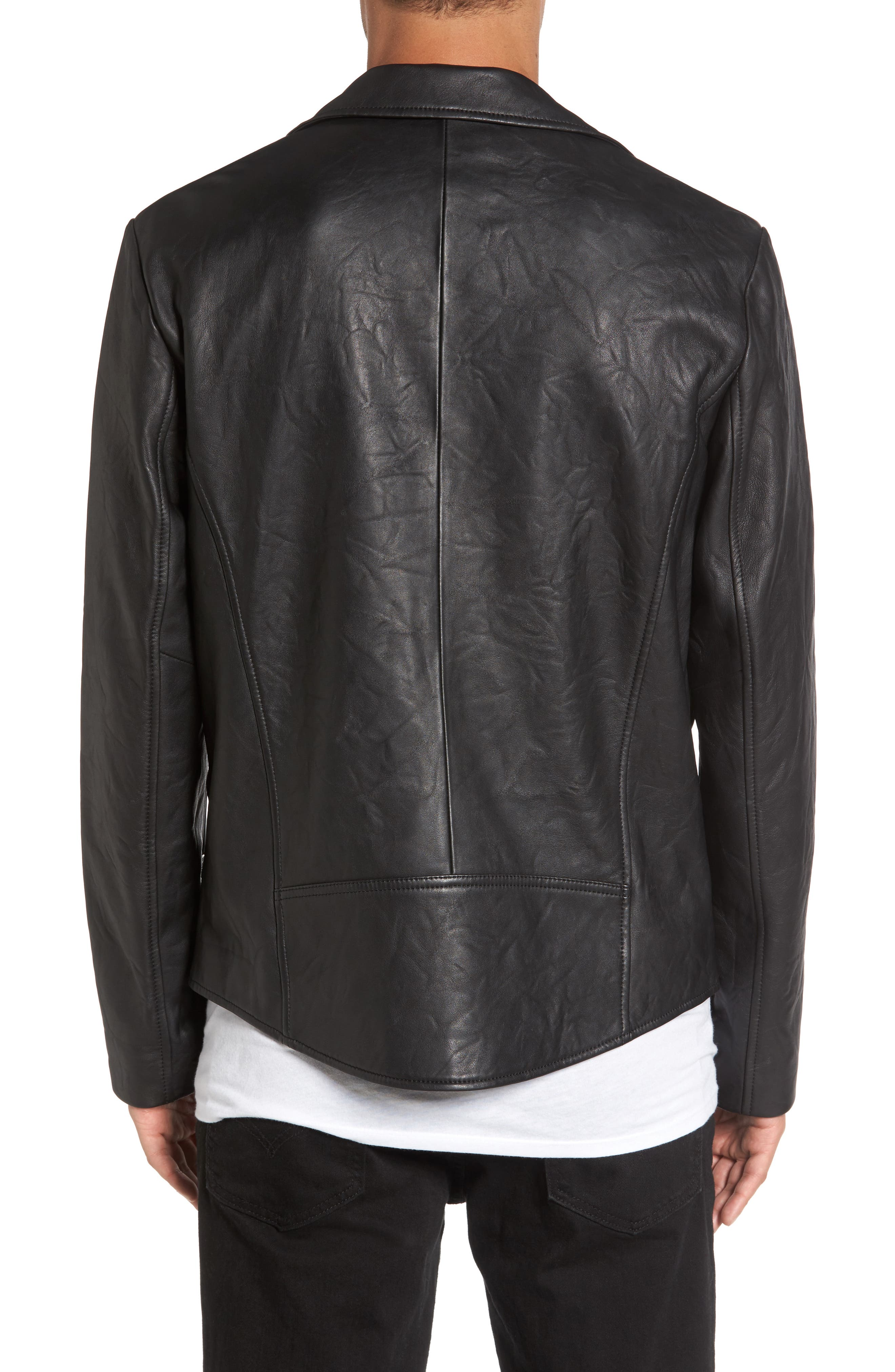 Leather Biker Jacket,                             Alternate thumbnail 2, color,                             001