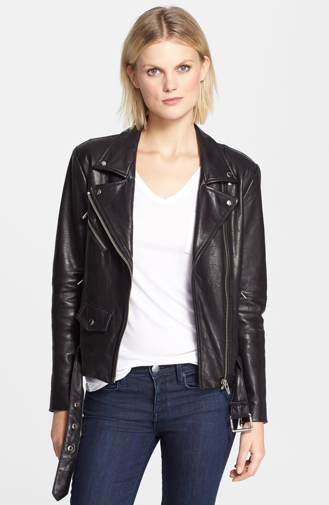 VEDA,                             'Jayne' Leather Moto Jacket,                             Main thumbnail 1, color,                             001