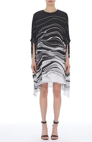 Brushstroke Print Silk Satin Dress, video thumbnail