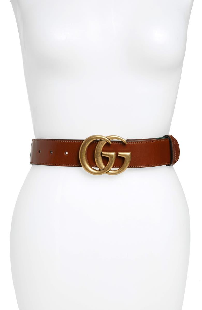 676d4b43f94 Gucci Wide Leather Web Belt In Cuir Vrv