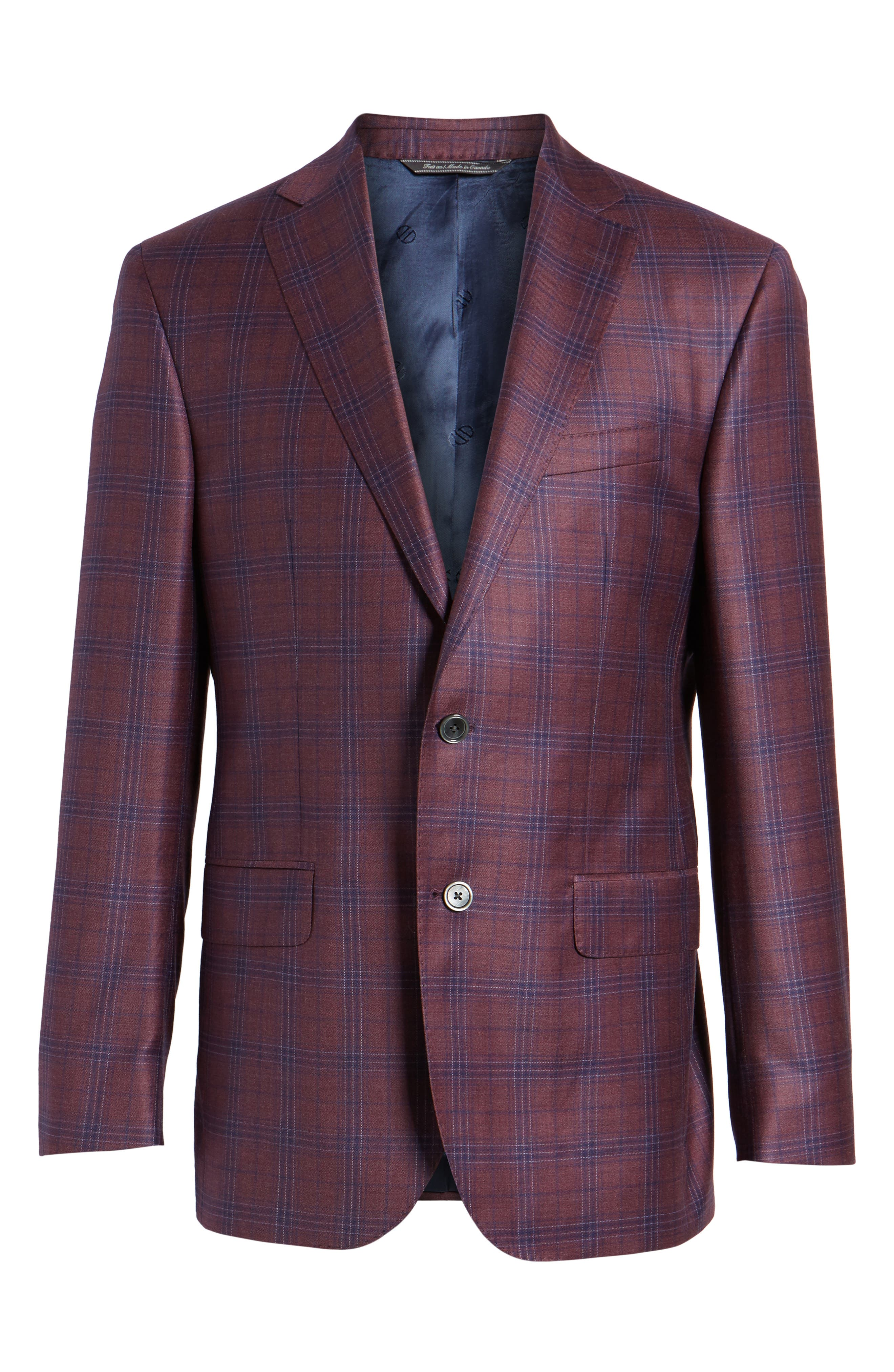 Connor Classic Fit Plaid Wool Sport Coat,                             Alternate thumbnail 5, color,                             930