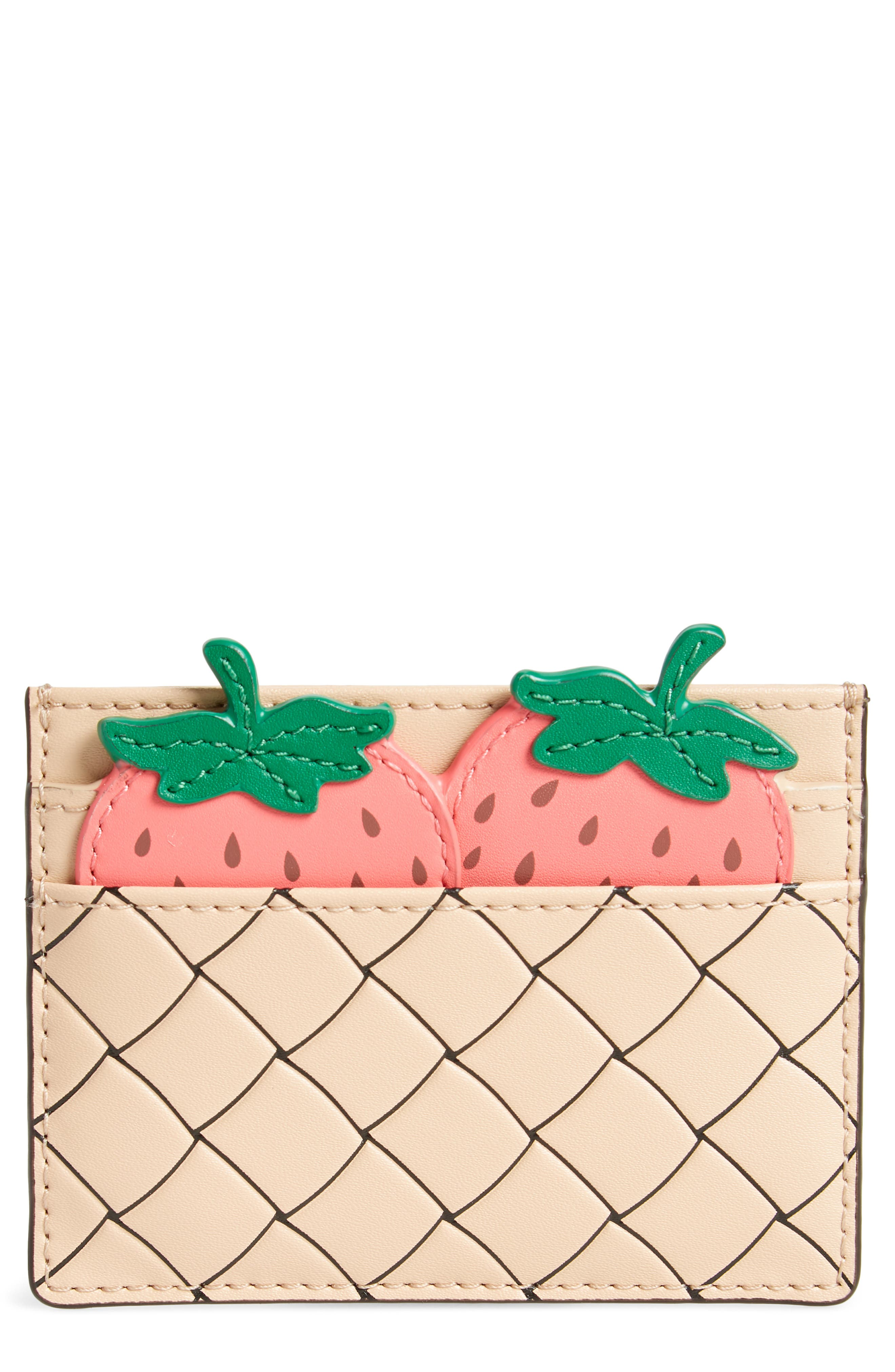 picnic strawberry basket leather card holder,                             Main thumbnail 1, color,