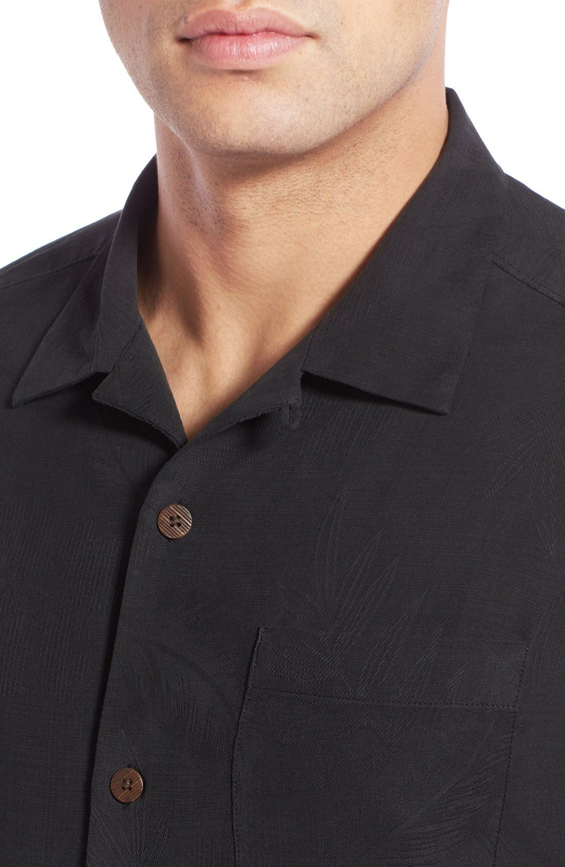 Rio Fronds Short Sleeve Silk Sport Shirt,                             Alternate thumbnail 4, color,                             001