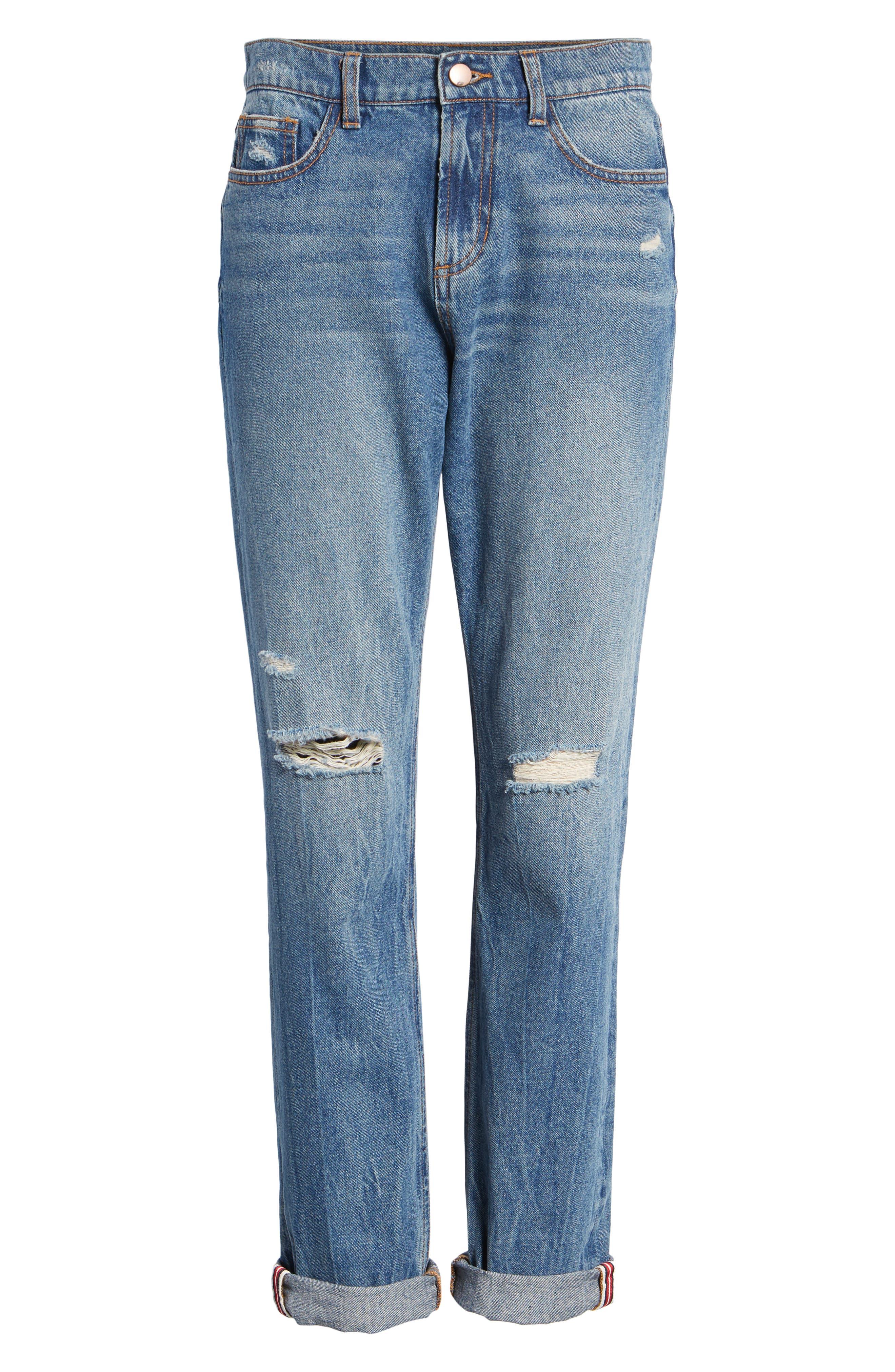 SP BLACK,                             Cuffed Ripped Boyfriend Jeans,                             Alternate thumbnail 7, color,                             420