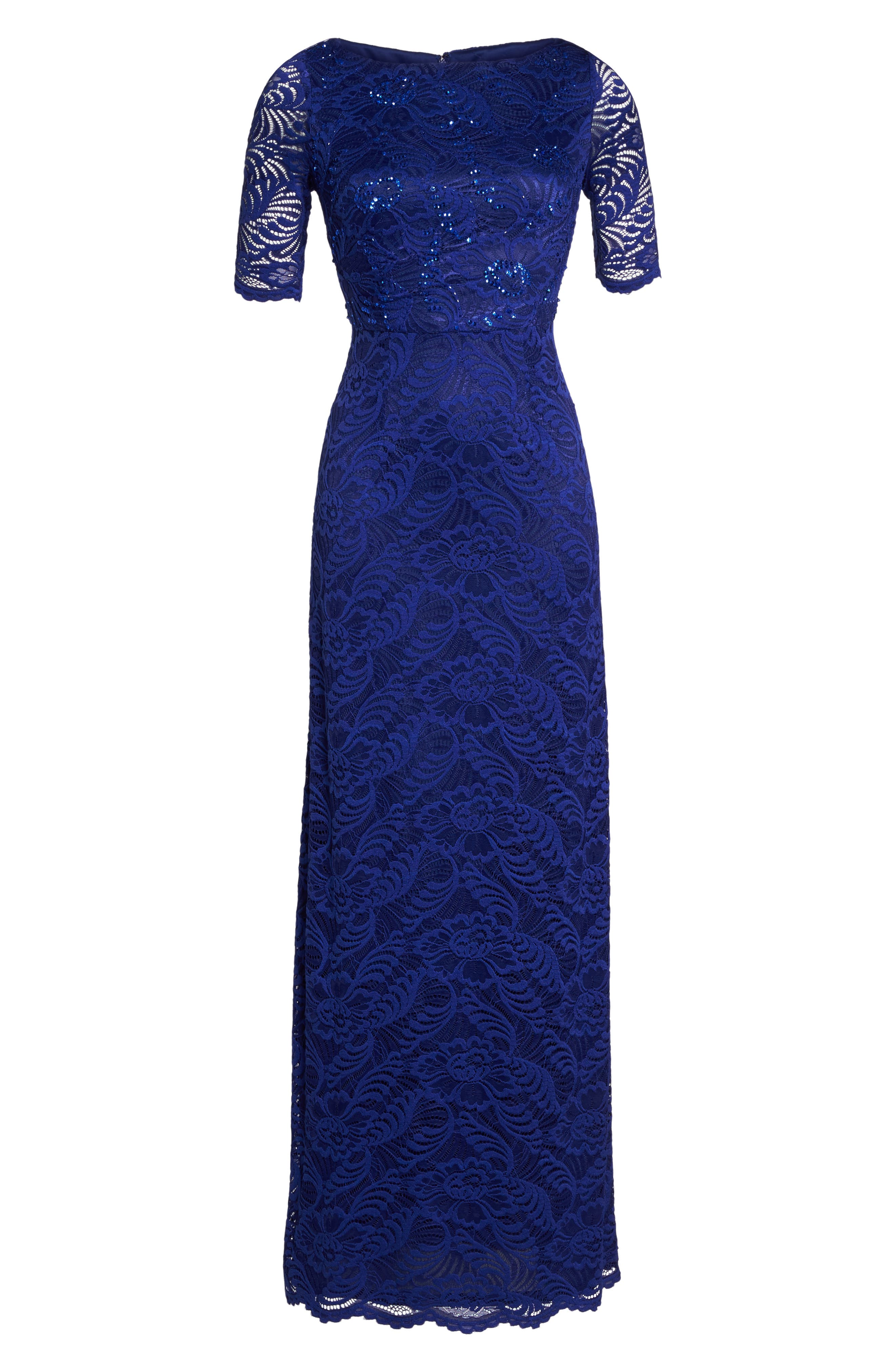 Shirred Stretch Lace Gown,                             Alternate thumbnail 6, color,