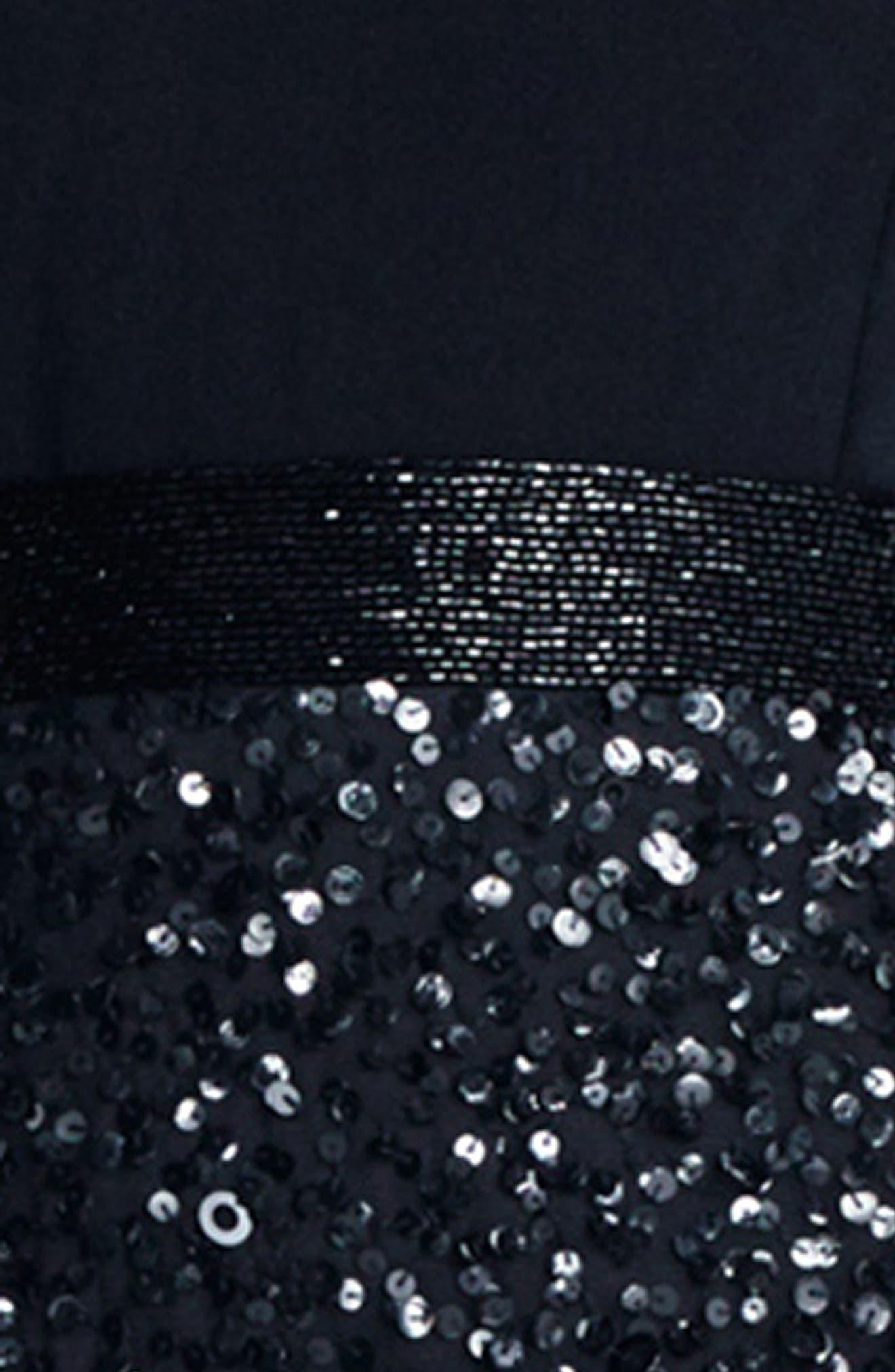 Embellished Cold Shoulder Dress,                             Alternate thumbnail 4, color,                             002