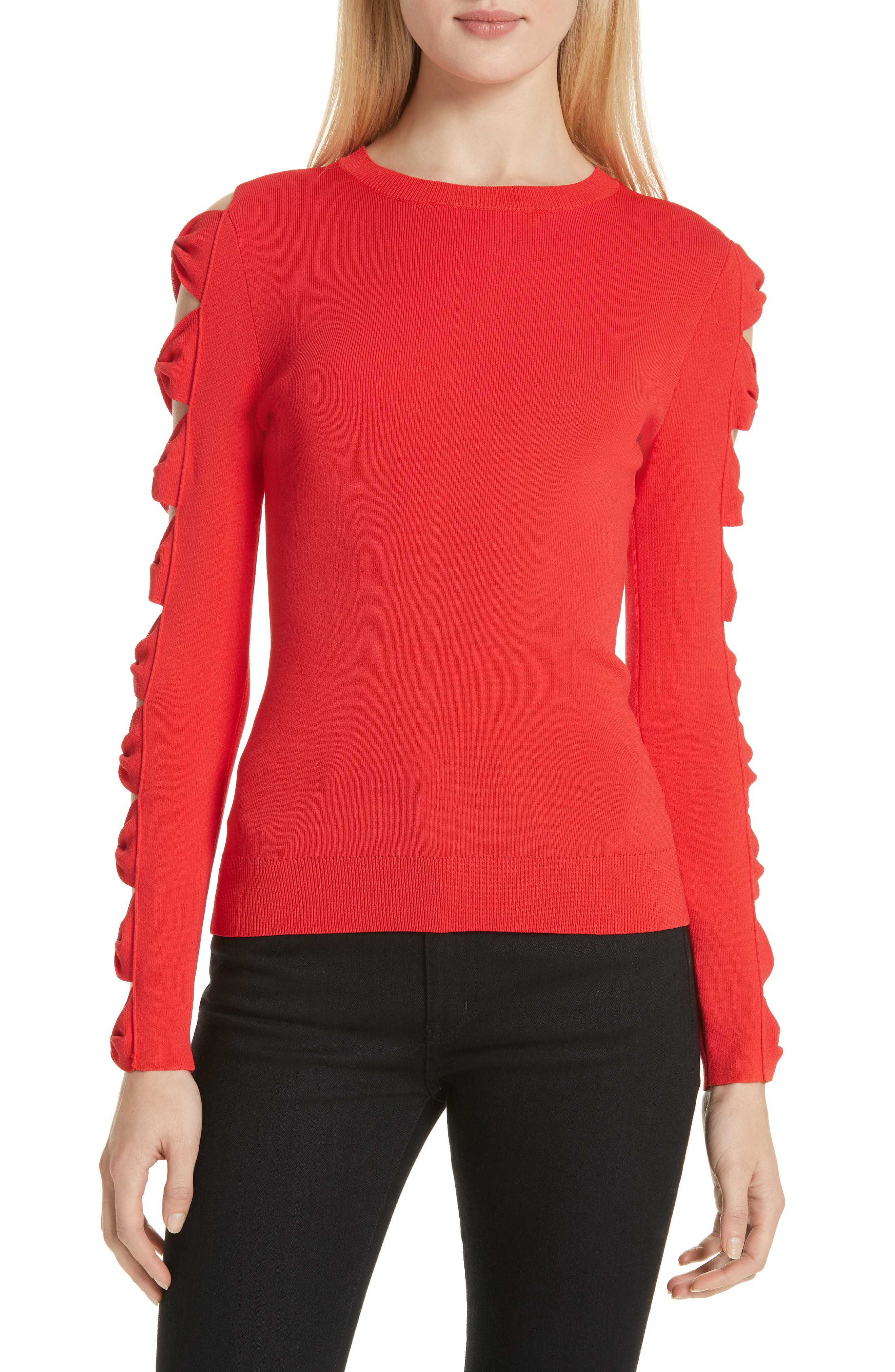 Yonoh Cutout Sleeve Sweater, Main, color, 600