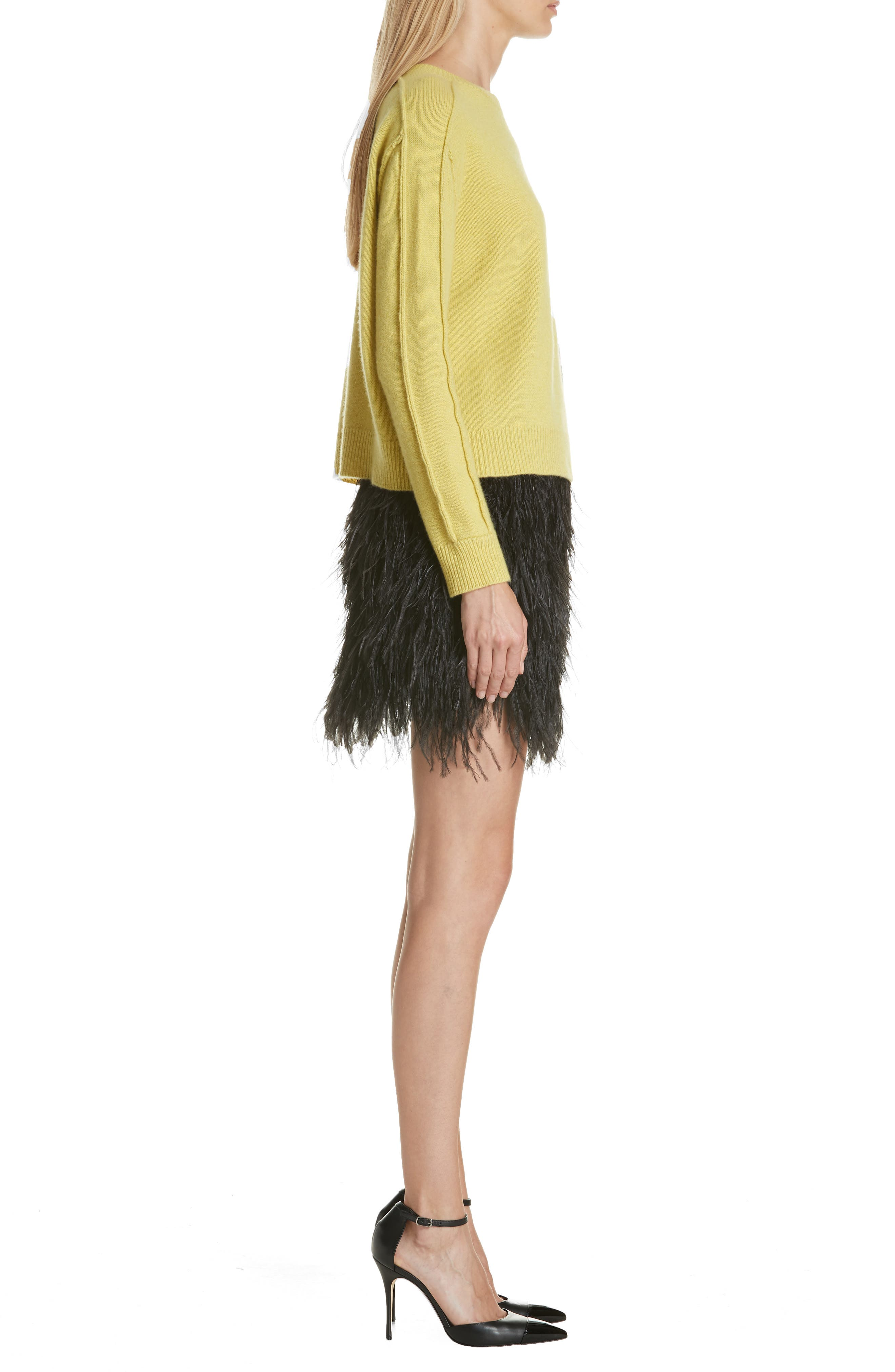 Lightning Bolt Wool & Cashmere Sweater,                             Alternate thumbnail 3, color,                             YELLOW/ GREY
