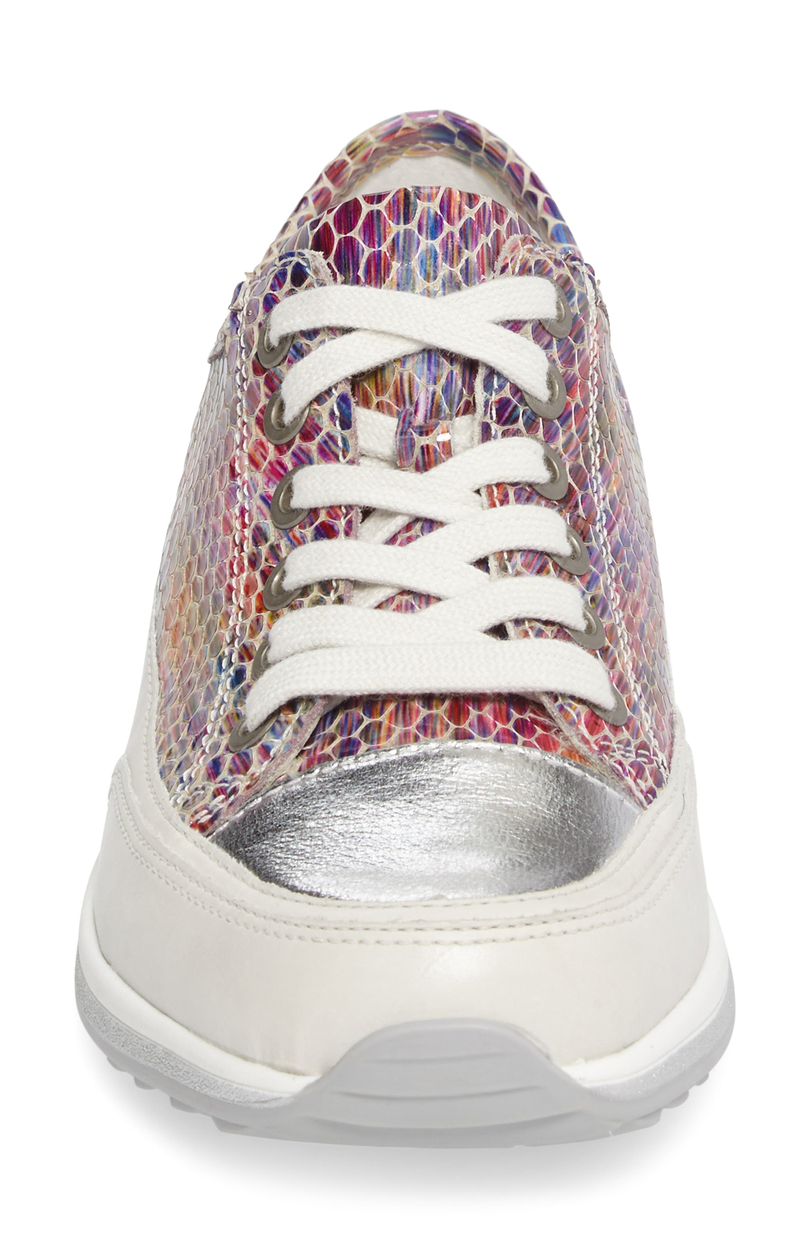 Hermione Sneaker,                             Alternate thumbnail 4, color,                             WHITE MULTI LEATHER
