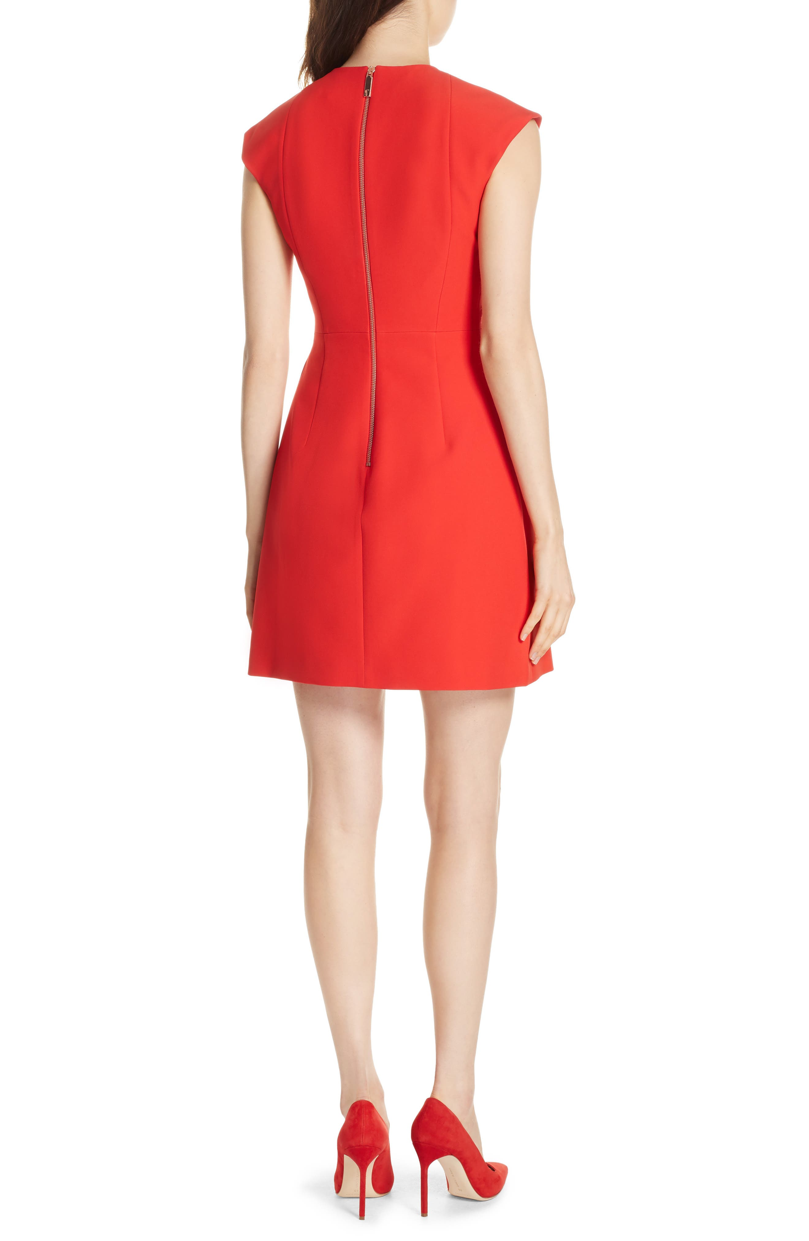 Polly Structured Bow Dress,                             Alternate thumbnail 2, color,                             MID RED