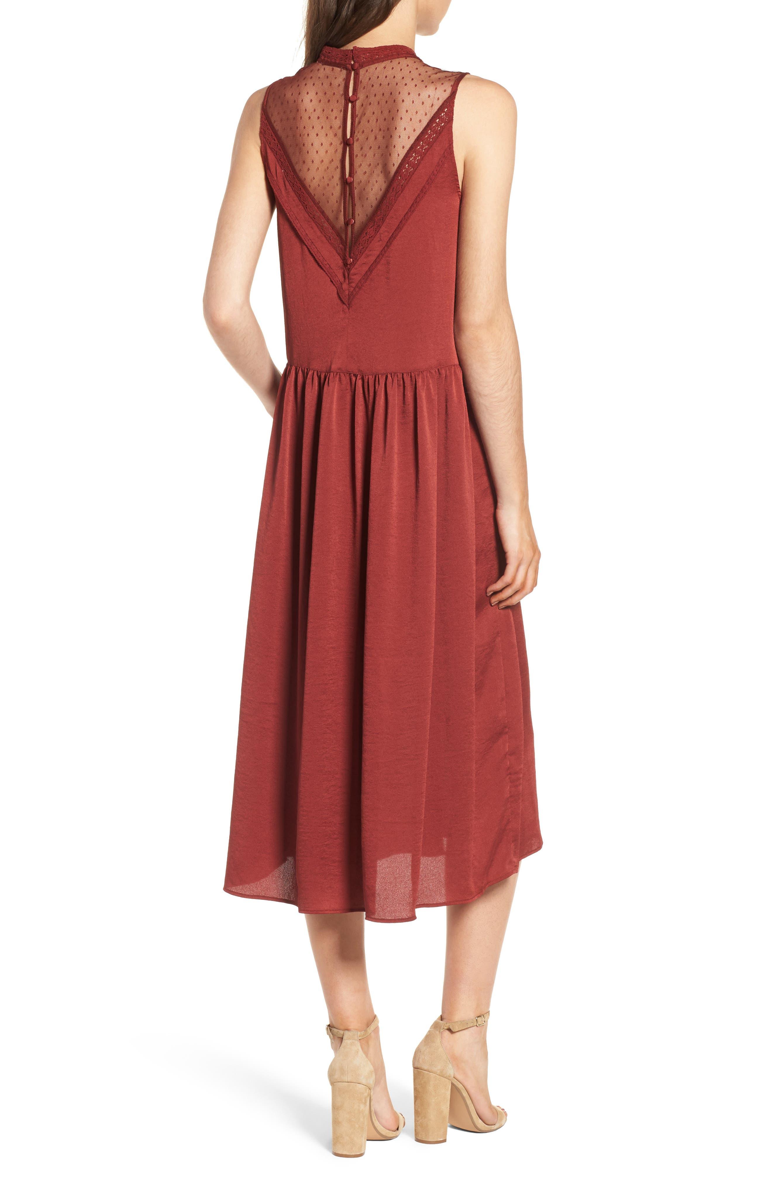 Mesh Panel Midi Dress,                             Alternate thumbnail 4, color,