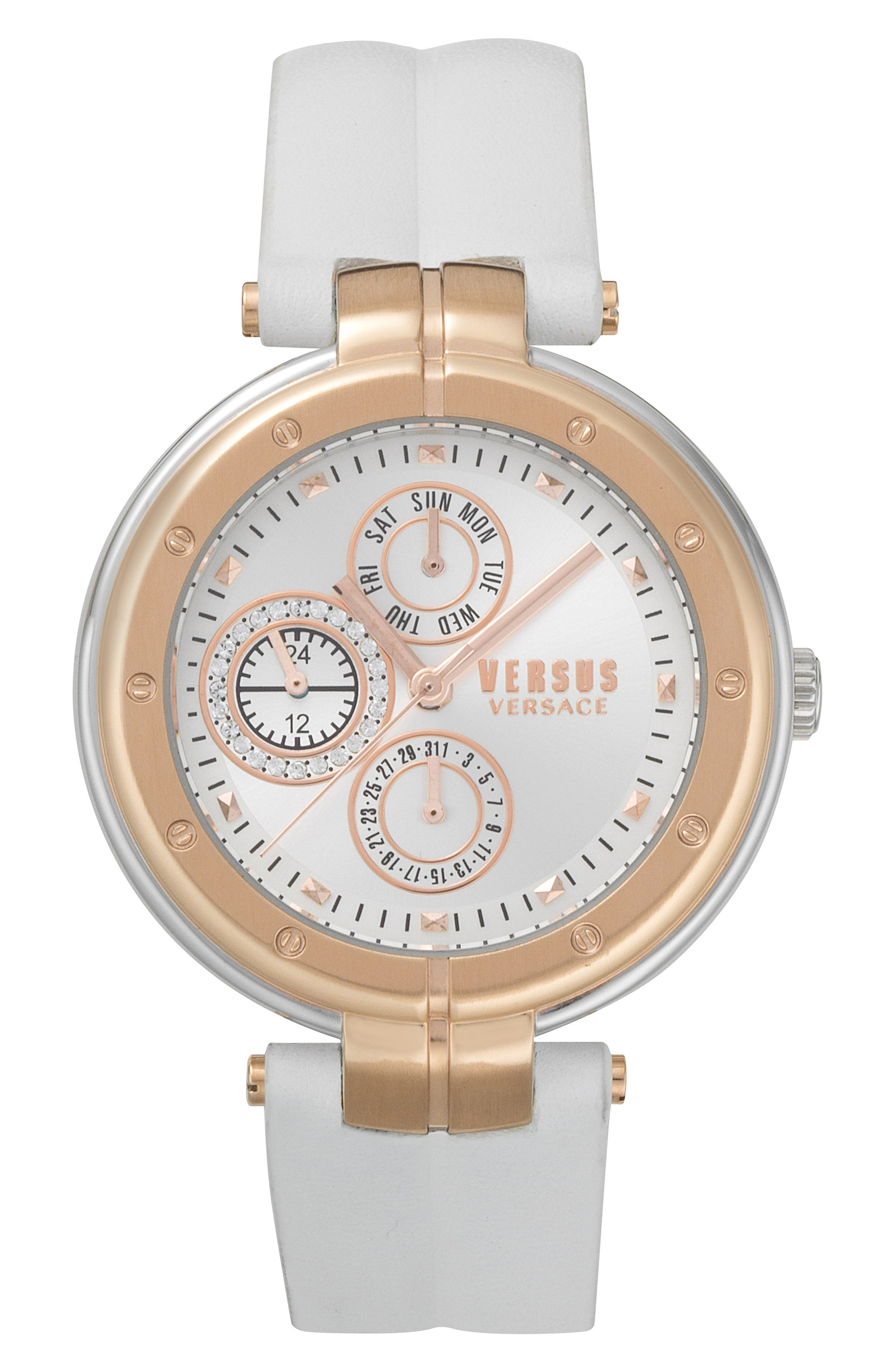 Bellville Leather Strap Watch, 38mm,                         Main,                         color, WHITE/ ROSE GOLD