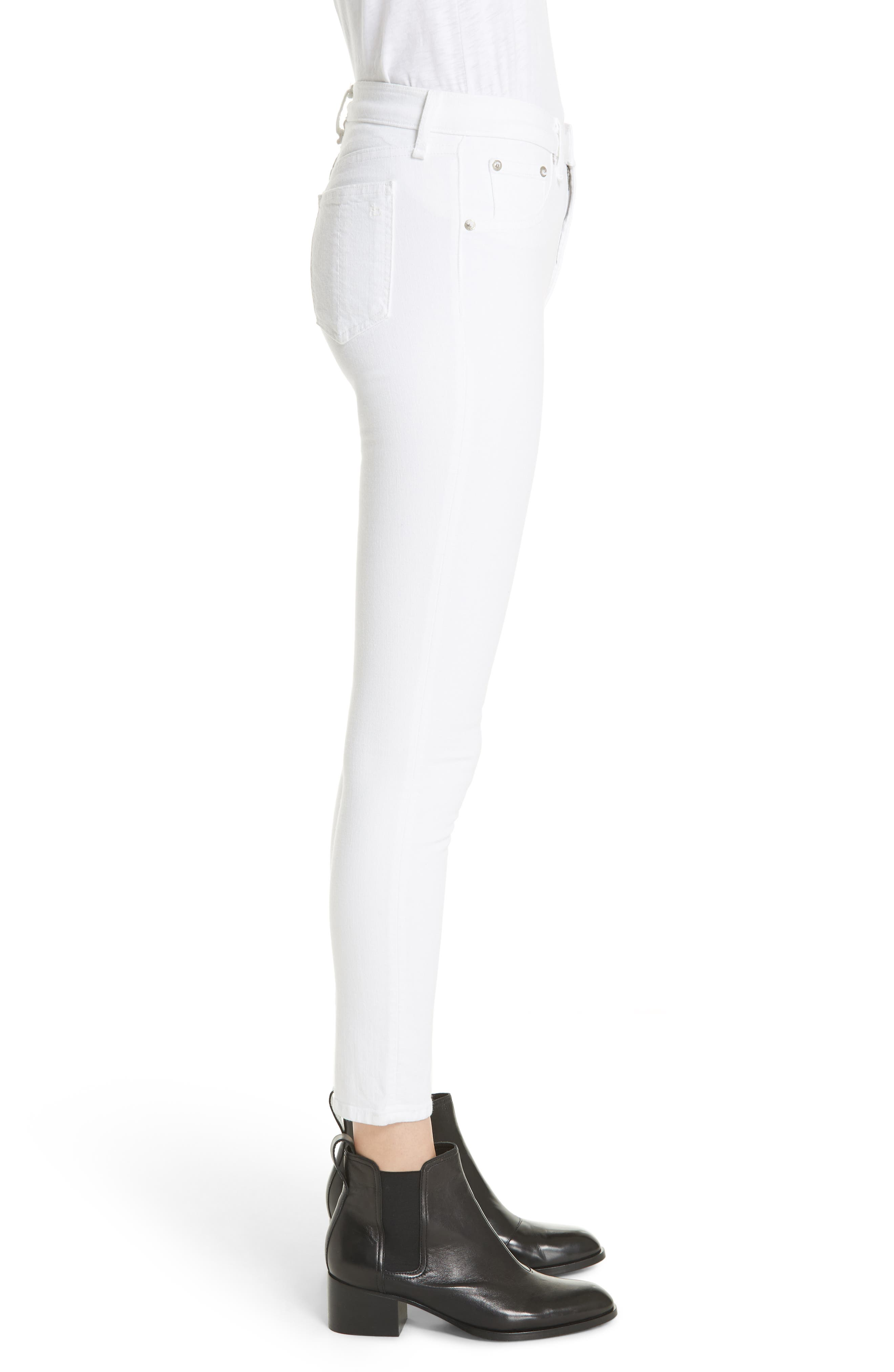 High Waist Ankle Skinny Jeans,                             Alternate thumbnail 3, color,                             BLANC