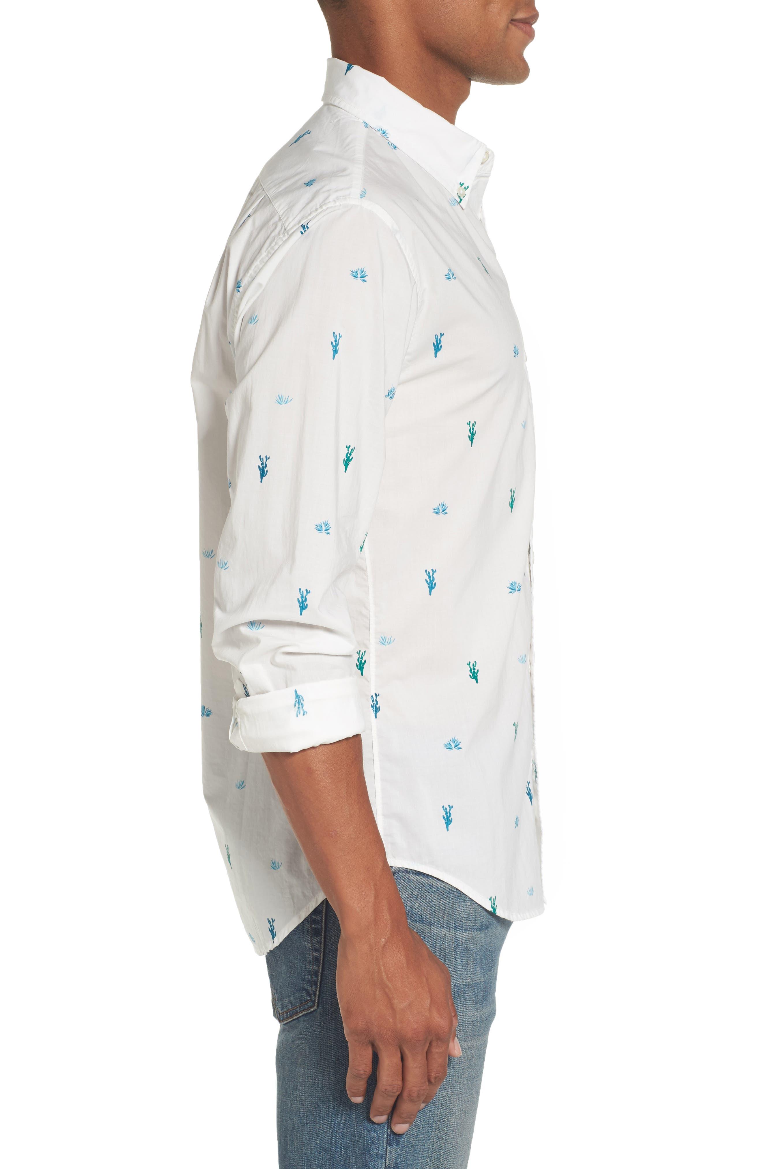 Slim Fit Summerweight Print Sport Shirt,                             Alternate thumbnail 3, color,                             100