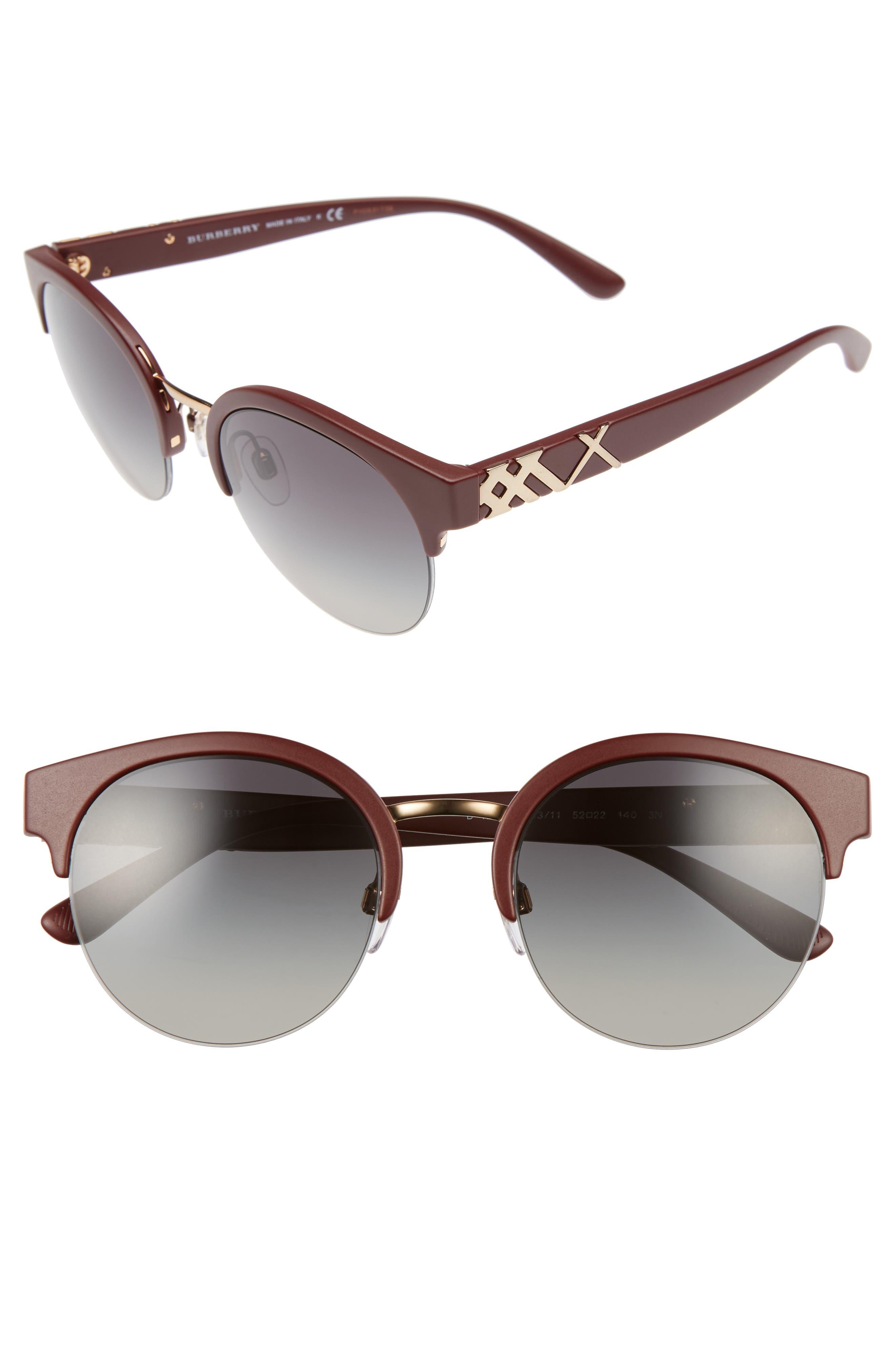 52mm Gradient Semi Rimless Sunglasses,                             Main thumbnail 3, color,