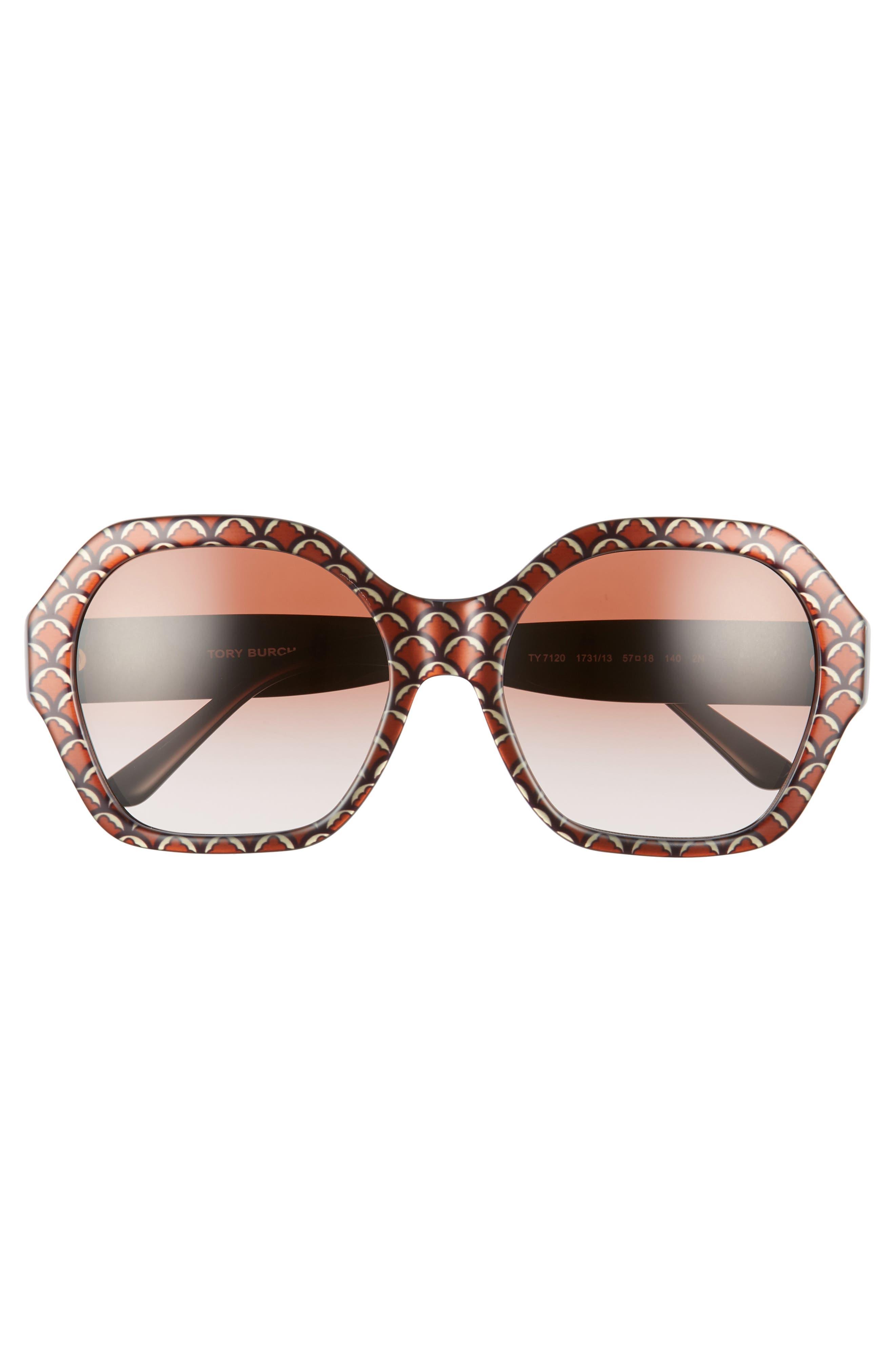 Serif T 57mm Hexagonal Sunglasses,                             Alternate thumbnail 3, color,                             BLACK PRINT