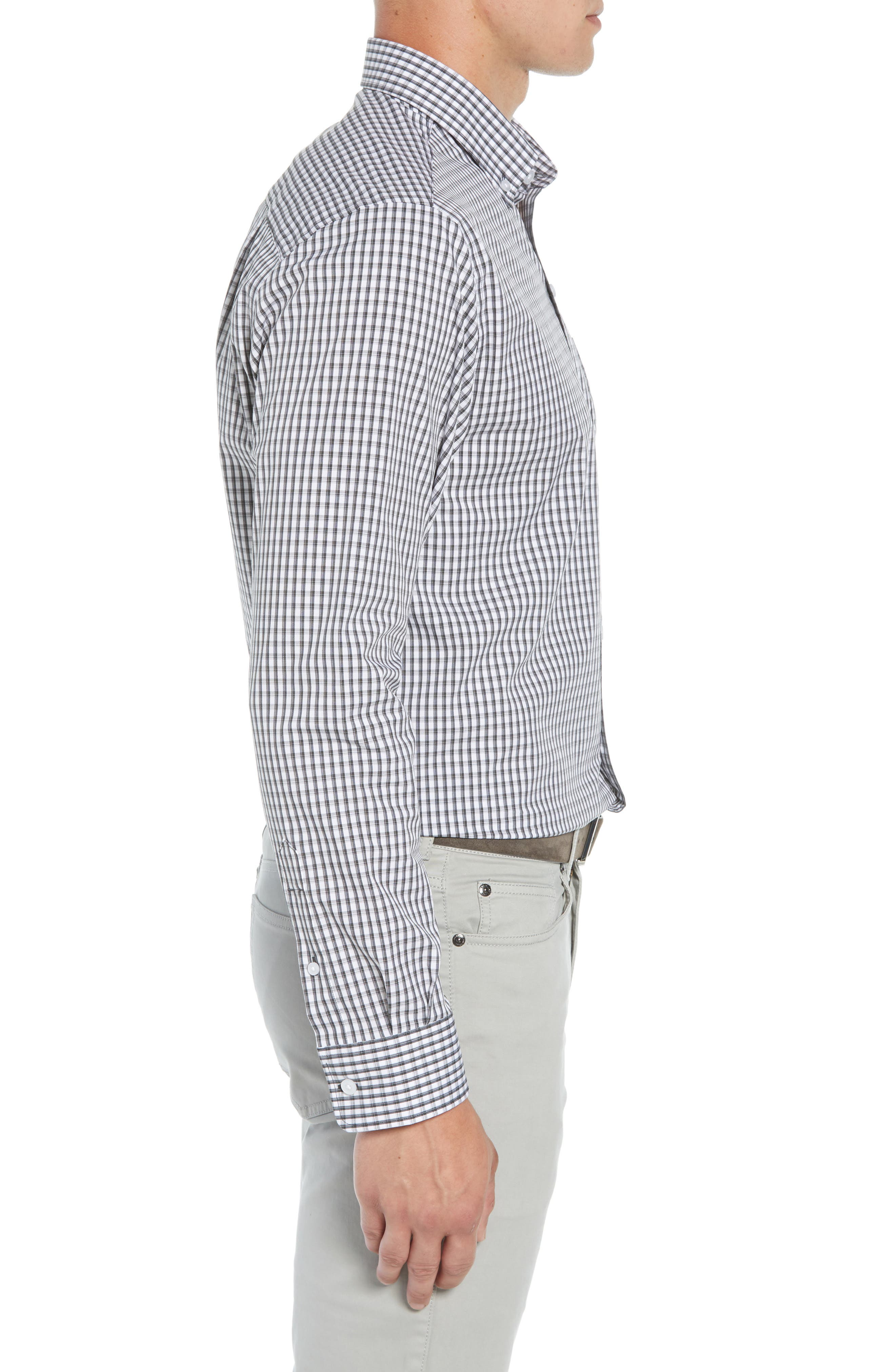 Regular Fit Gingham Non-Iron Sport Shirt,                             Alternate thumbnail 4, color,                             CHARCOAL
