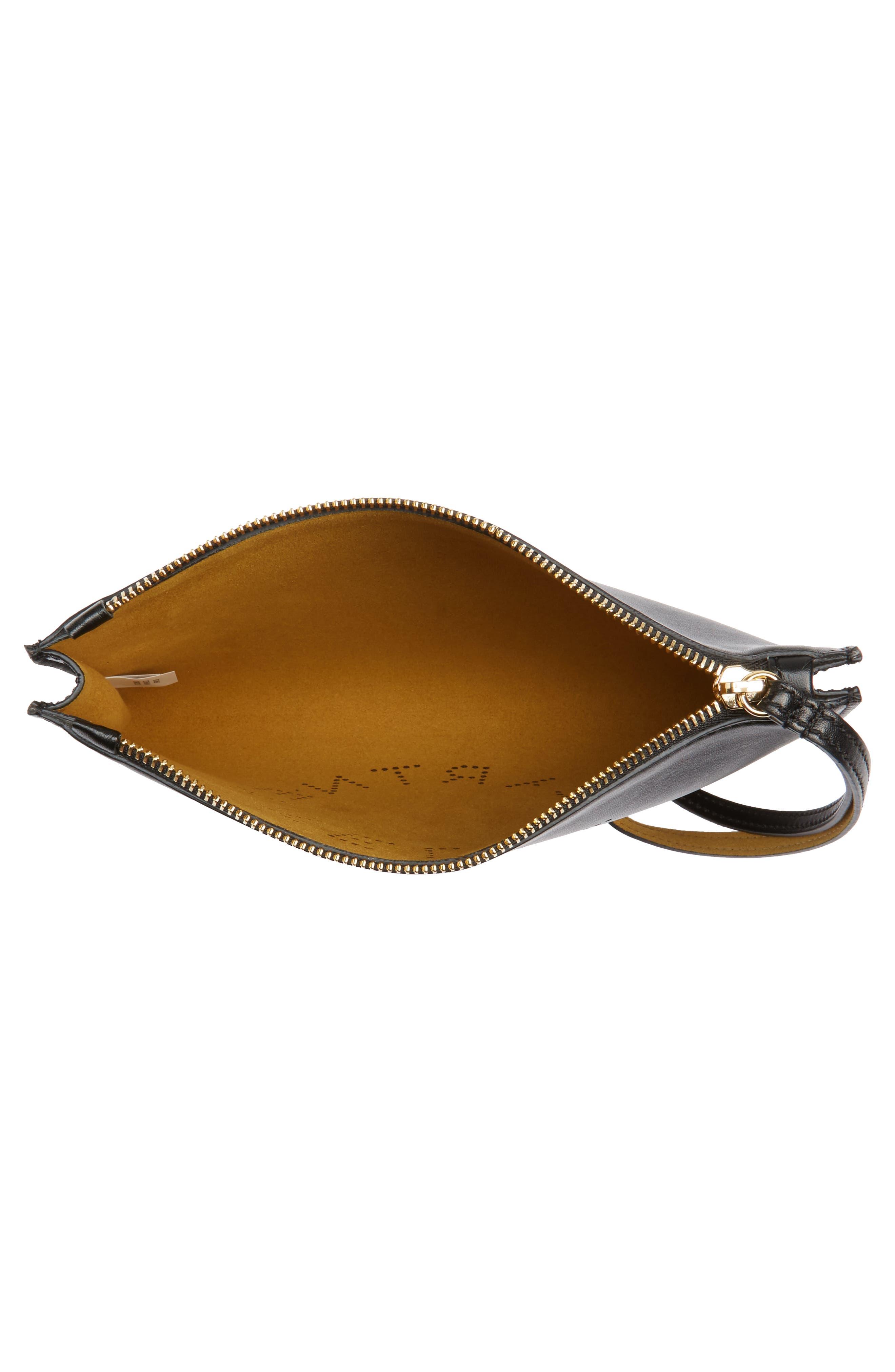 Alter Faux Nappa Leather Wristlet Clutch,                             Alternate thumbnail 4, color,                             BLACK