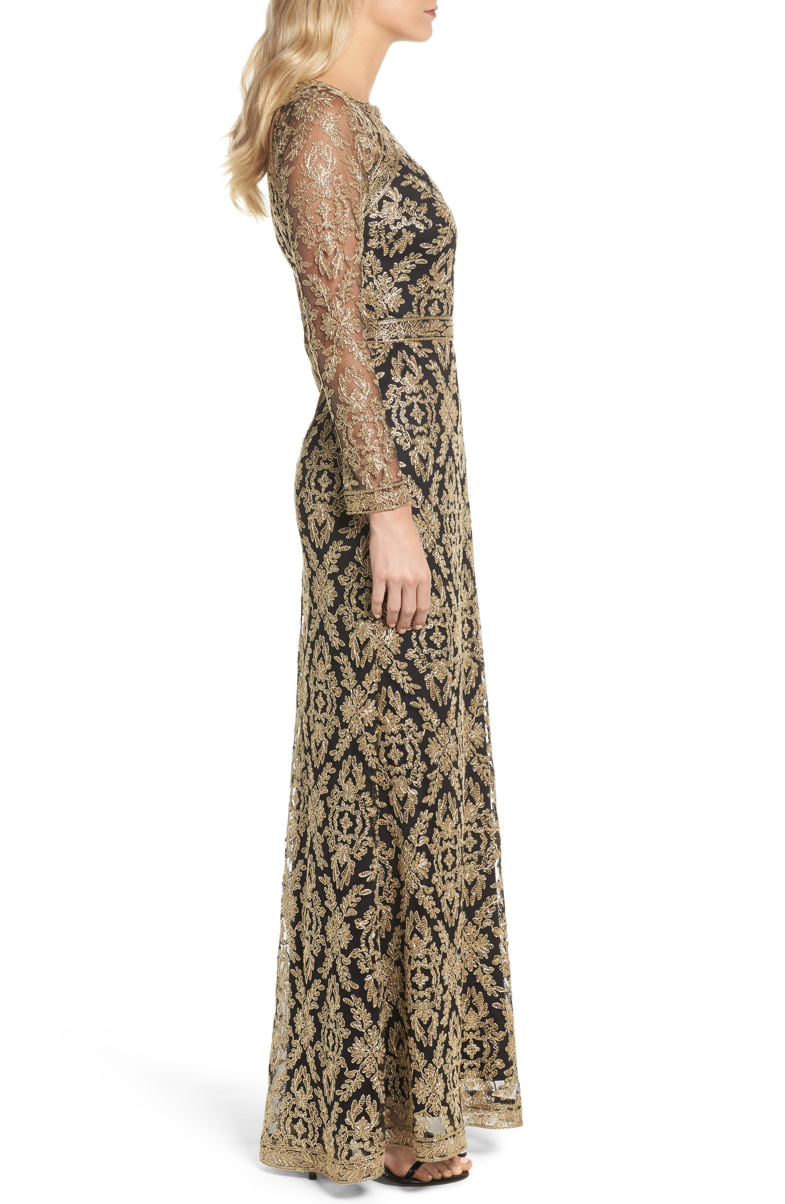 Embroidered Lace Gown,                             Alternate thumbnail 3, color,                             712