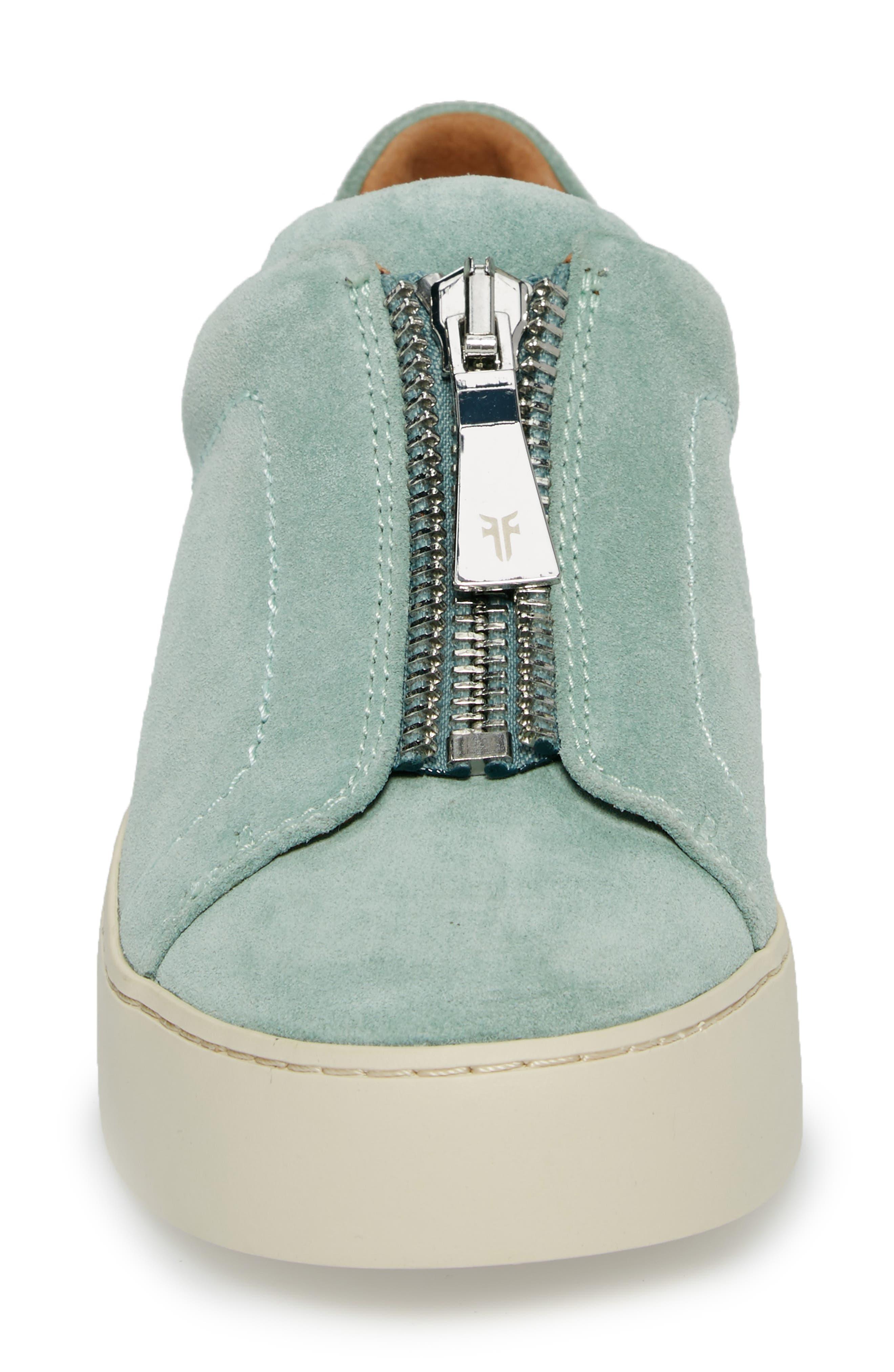 Lena Zip Sneaker,                             Alternate thumbnail 4, color,                             MINT SUEDE