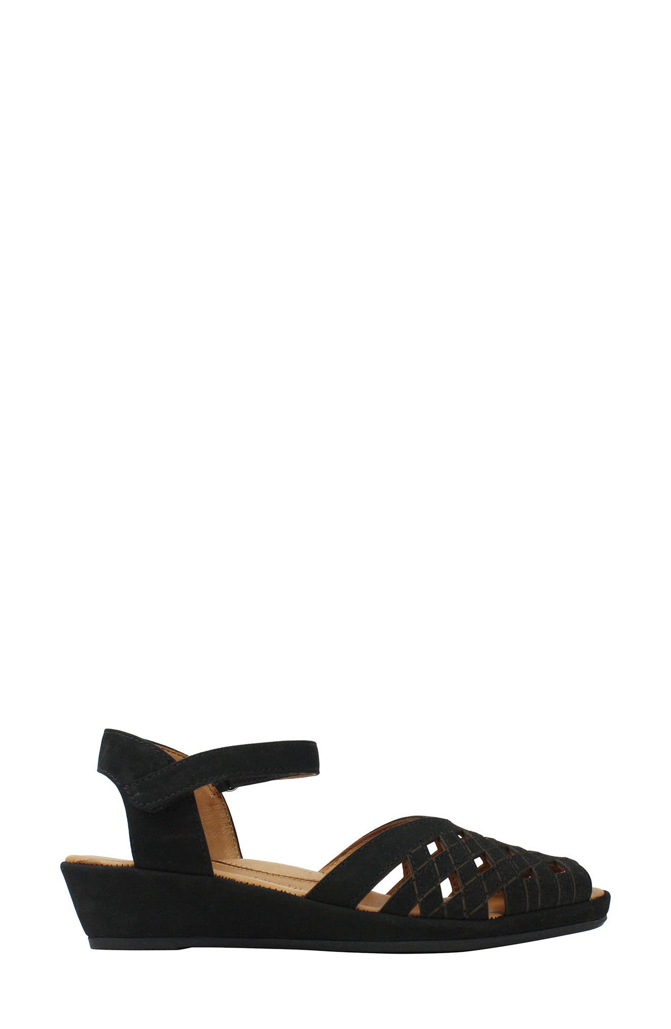 Burcie Wedge Sandal,                             Alternate thumbnail 3, color,                             BLACK NUBUCK LEATHER