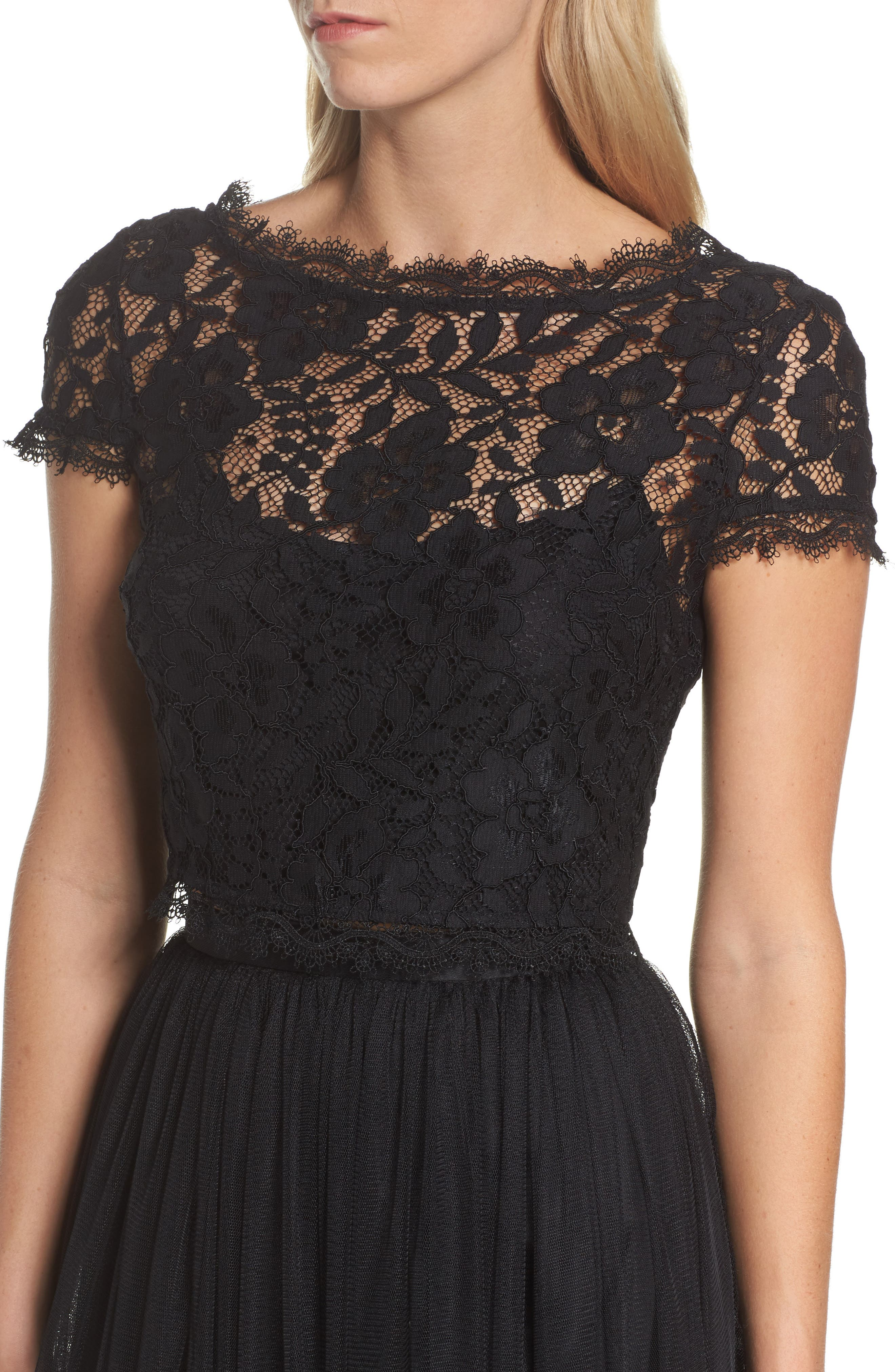 Lace and Tulle Two-Piece Dress,                             Alternate thumbnail 4, color,                             002