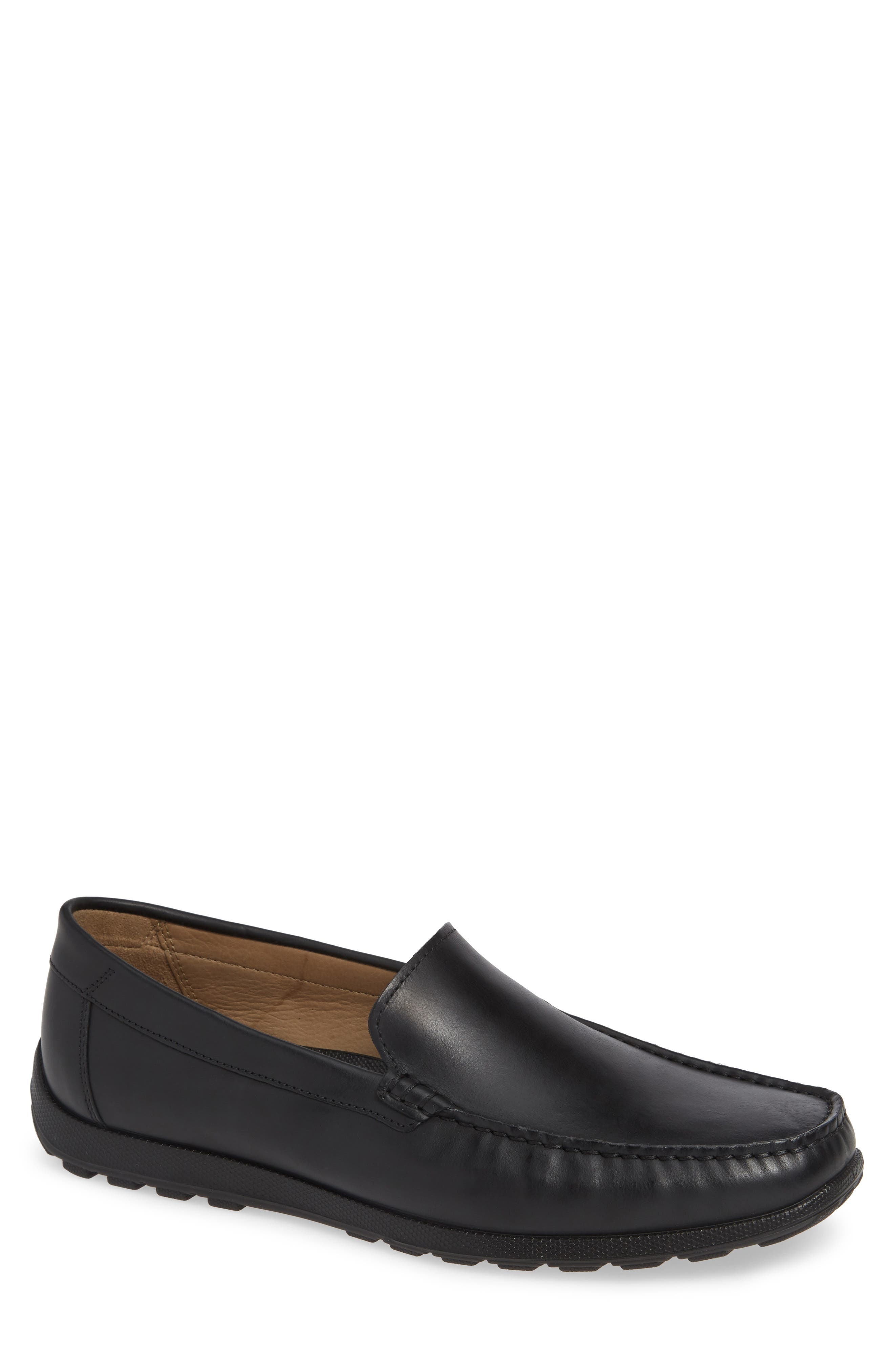 Dip Moc Toe Driving Loafer,                             Main thumbnail 1, color,                             BLACK LEATHER