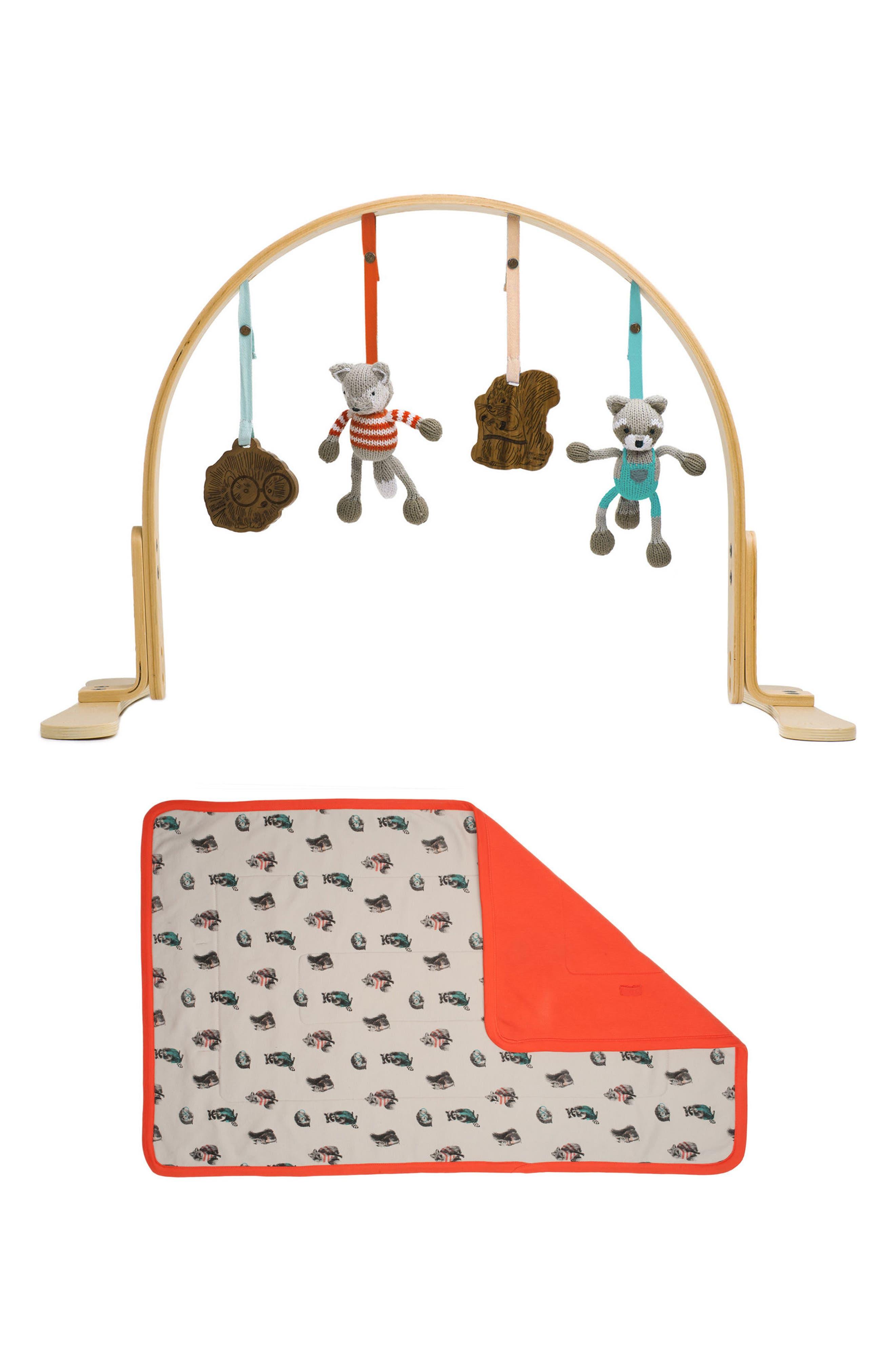 Wooden Play Gym & Woodland Mat,                             Main thumbnail 1, color,                             205